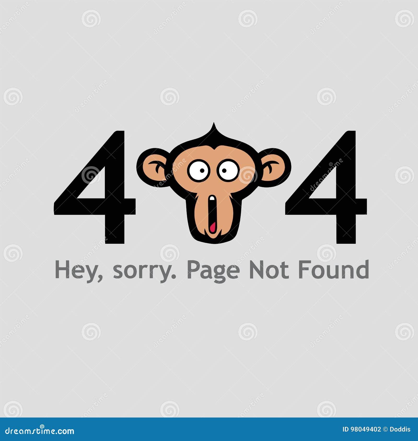 Страница 404 не найденная с шаблоном вектора иллюстрации стороны обезьяны кричащим