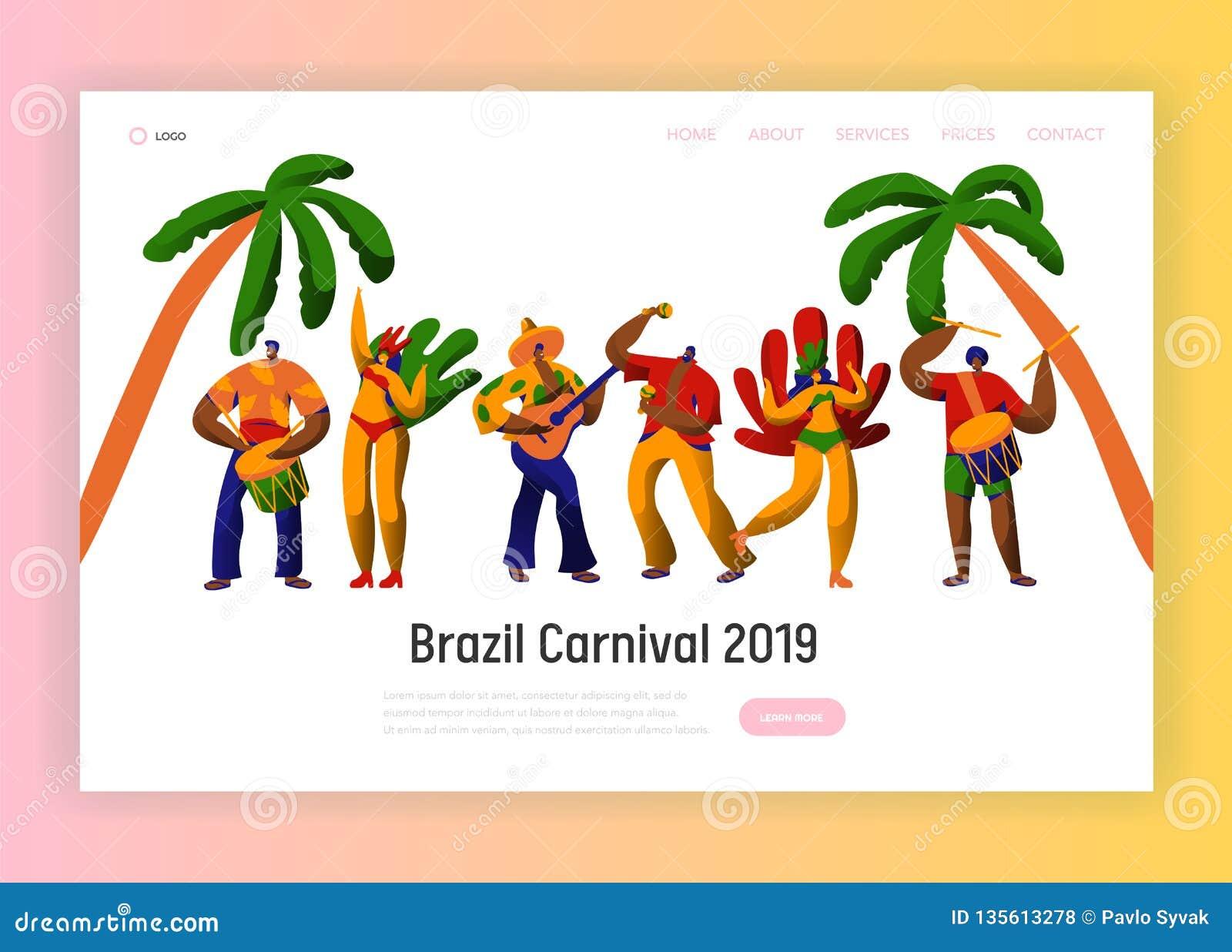 Страница посадки танца характера партии масленицы Бразилии Танцор женщины человека на бразильском этническом фестивале в экзотиче