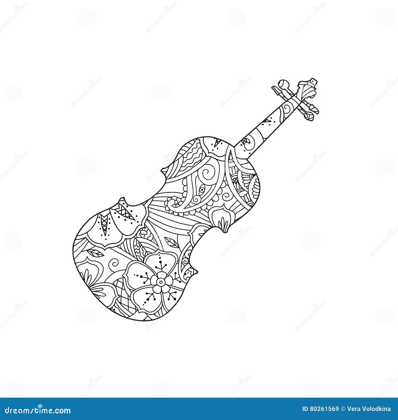 страница расцветки при орнаментальная скрипка изолированная
