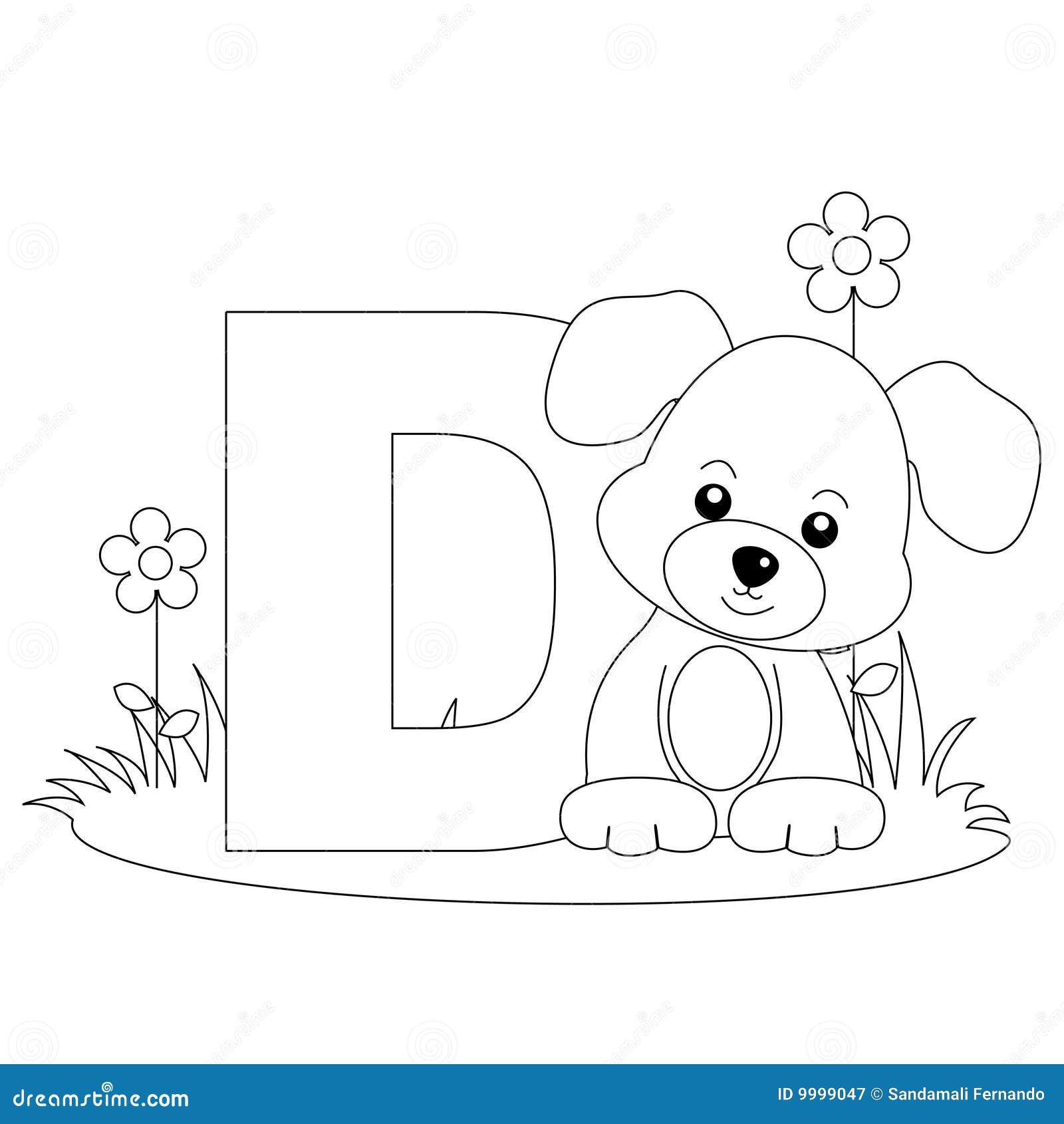 страница расцветки d алфавита животная