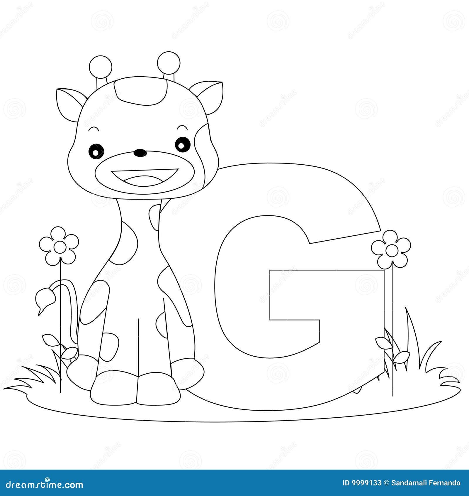 страница g расцветки алфавита животная