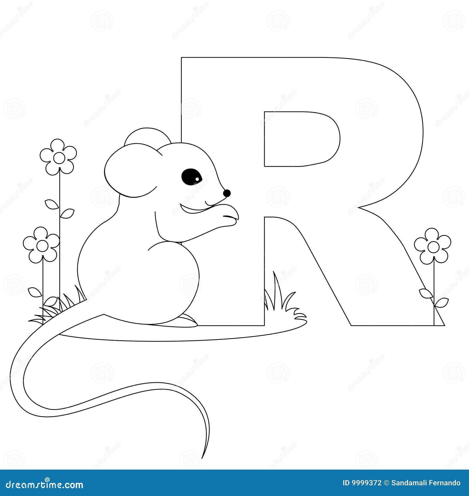 страница r расцветки алфавита животная