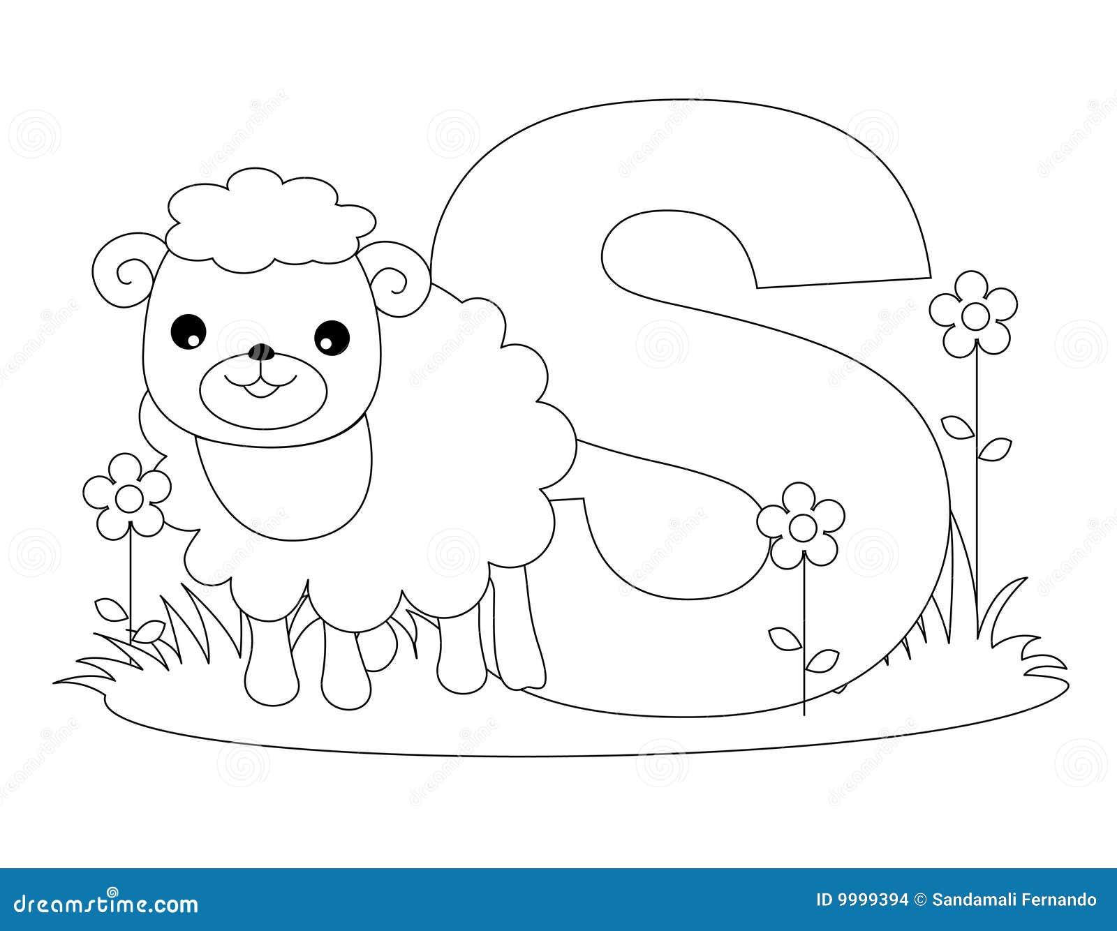 страница s расцветки алфавита животная