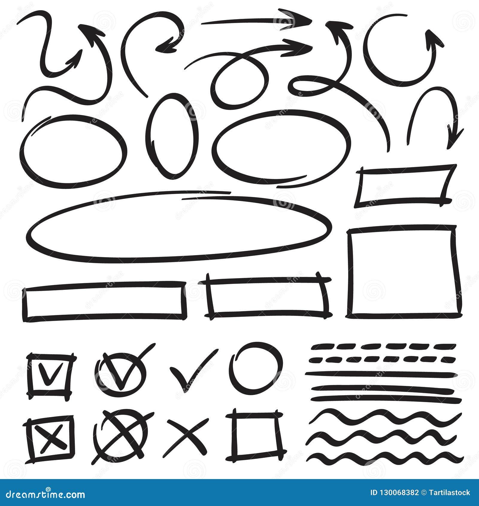 Стрелки и рамки эскиза Круг руки вычерченный, овальная рамка и doodles стрелки Указатели мультфильма и линии набор вектора