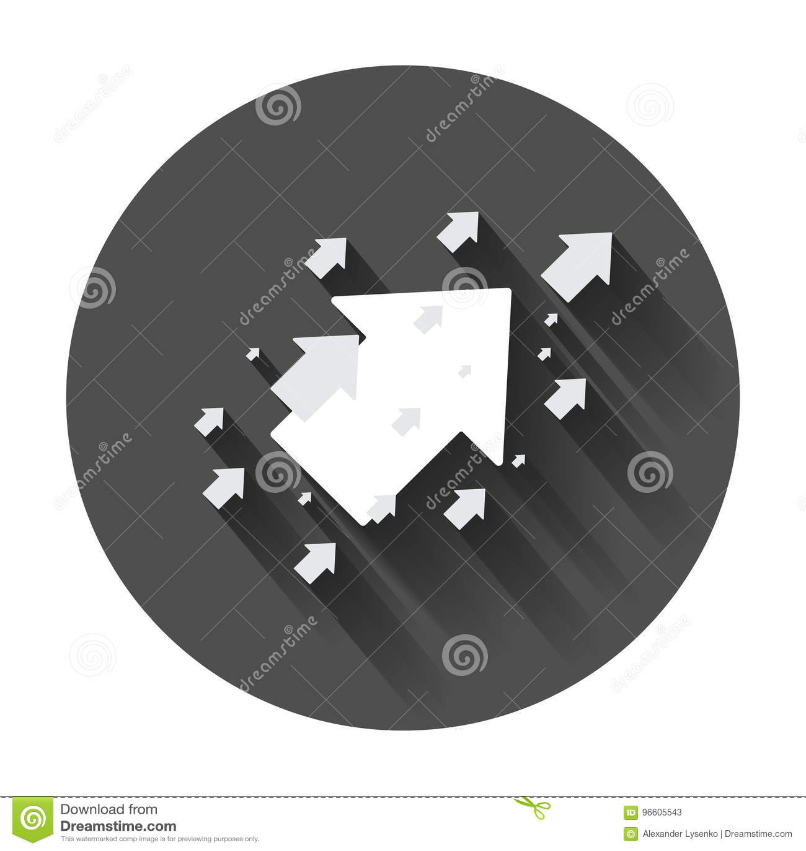 Стрелка вверх по значку вектора Передняя иллюстрация знака стрелки Бизнес