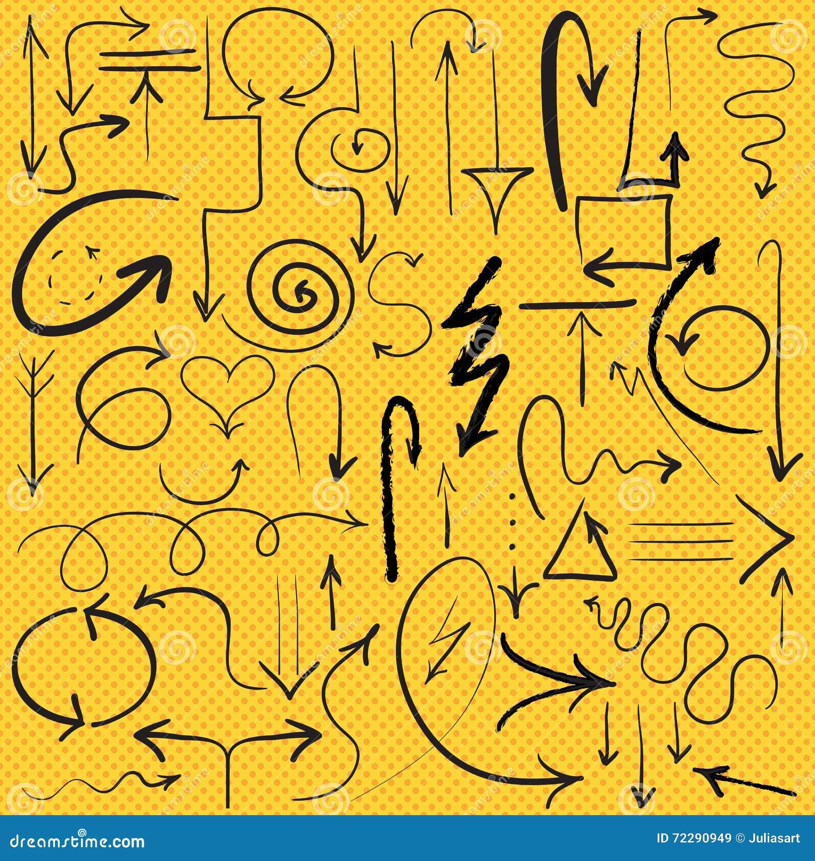Download стрелки вектора нарисованные рукой, комплект Иллюстрация вектора - иллюстрации насчитывающей молния, линия: 72290949