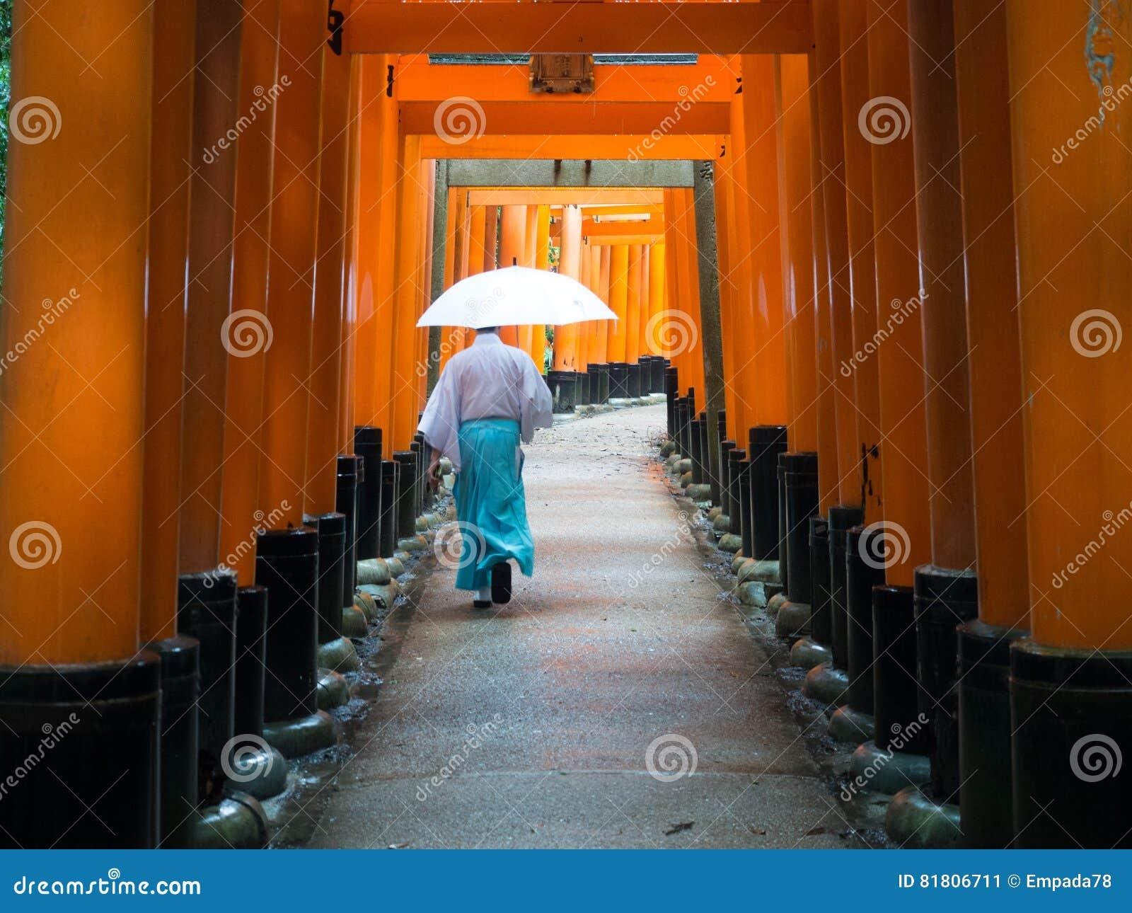 Стробы Ref Torri Fushimi Inari Taisha с священником