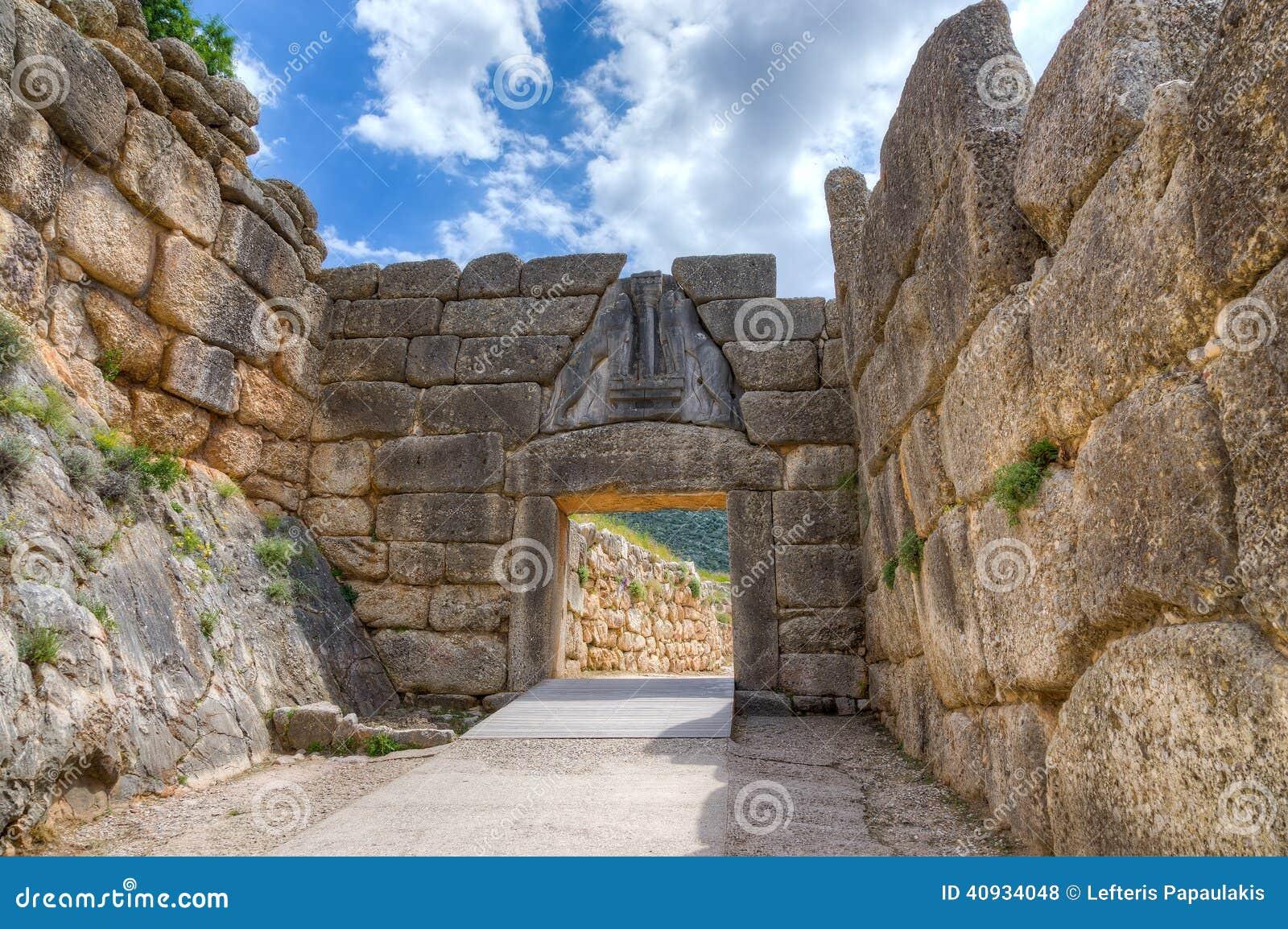 Строб льва, Mycenae, Греция