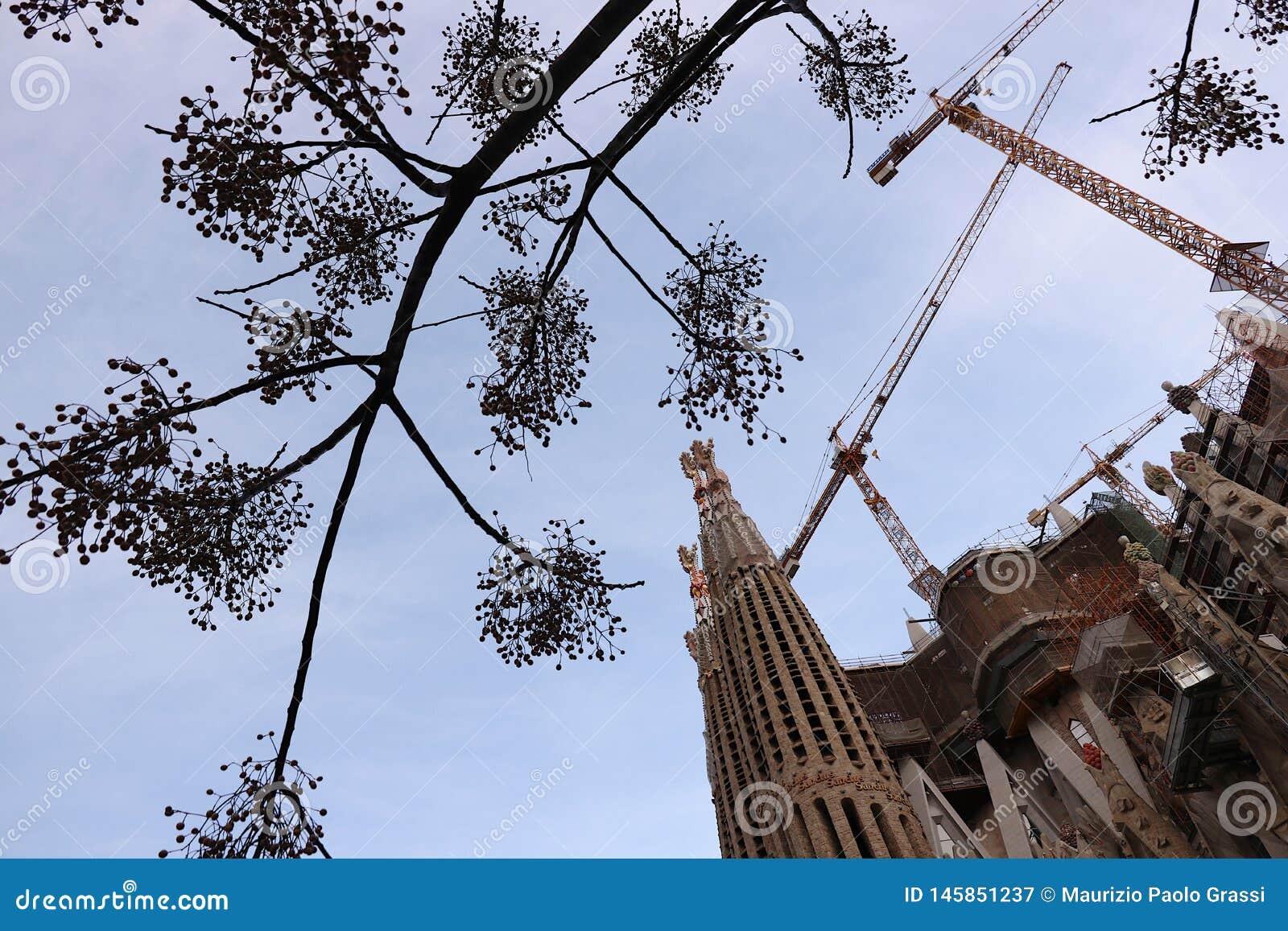 Строительная площадка Sagrada Familia первоначально конструированного Antoni Gaudi