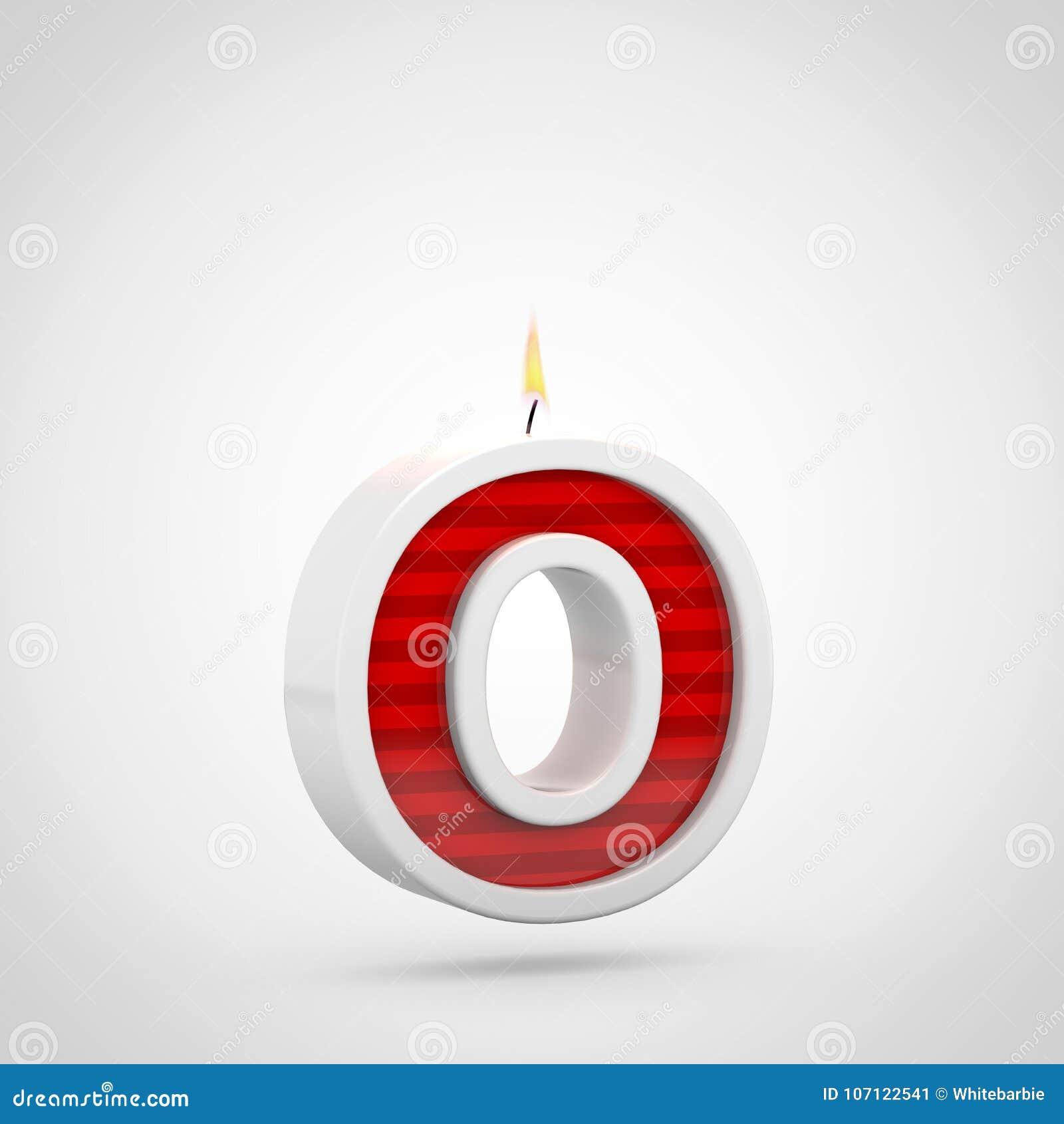 Строчная буква письма o свечи дня рождения изолированная на белой предпосылке