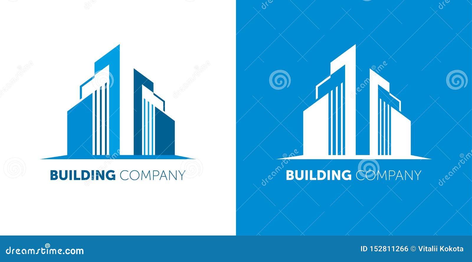 Строя логотип компании Современные компании имущества логотипа по-настоящему и домашние обслуживания