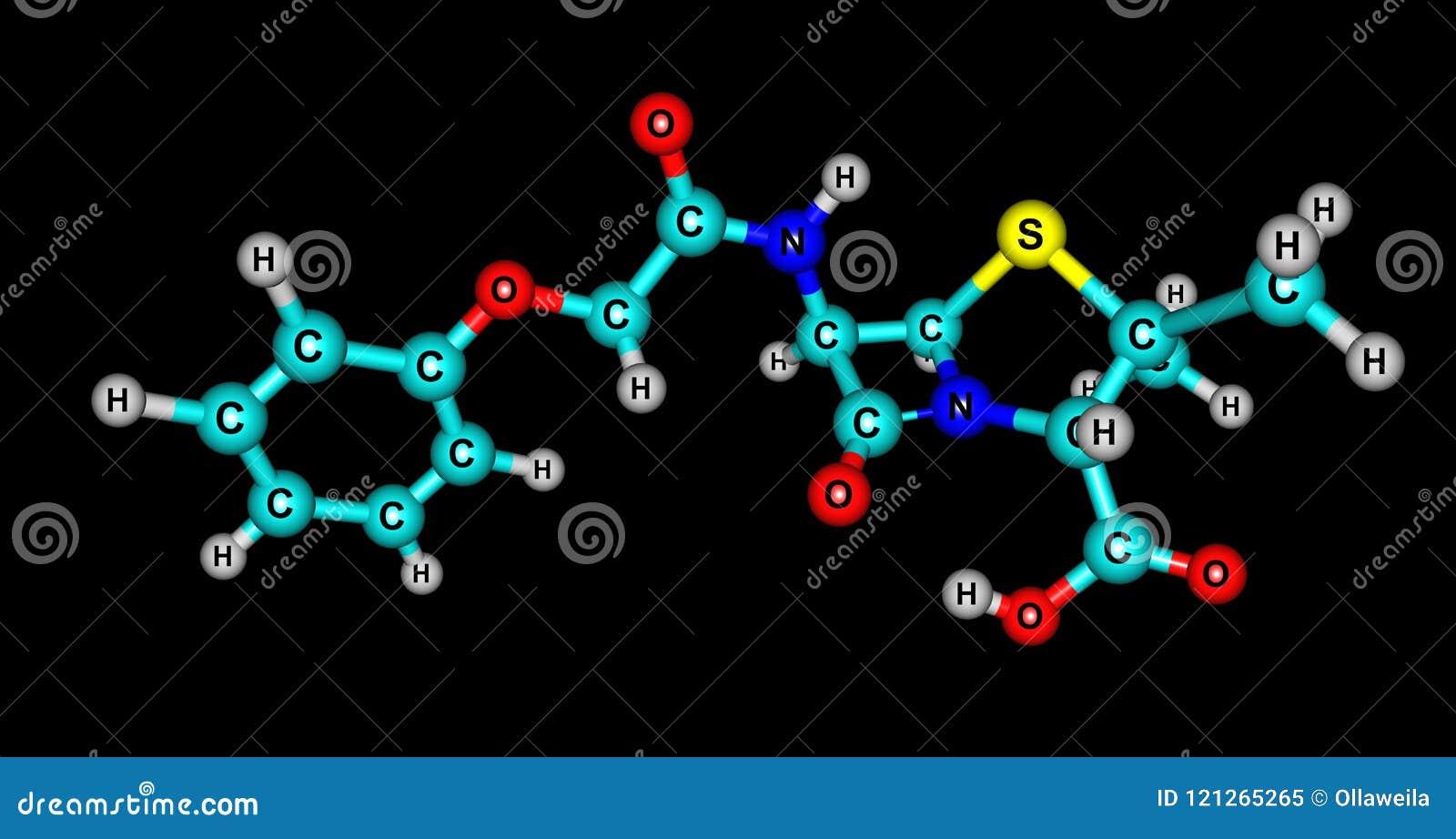 Структура Ceftolozane молекулярная изолированная на черноте