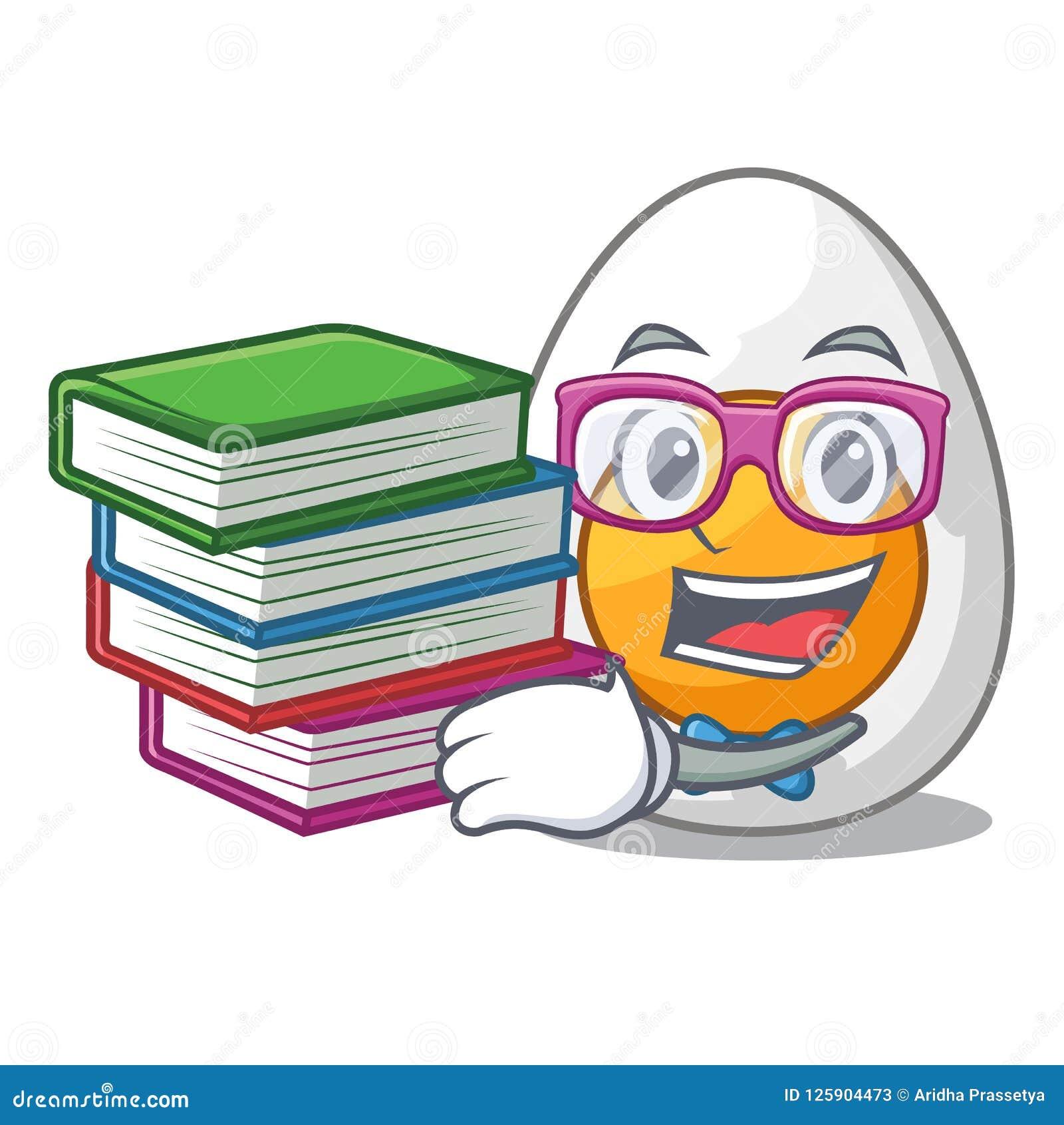 Студент при книги вареное яйцо свеже изолированное на шарже талисмана