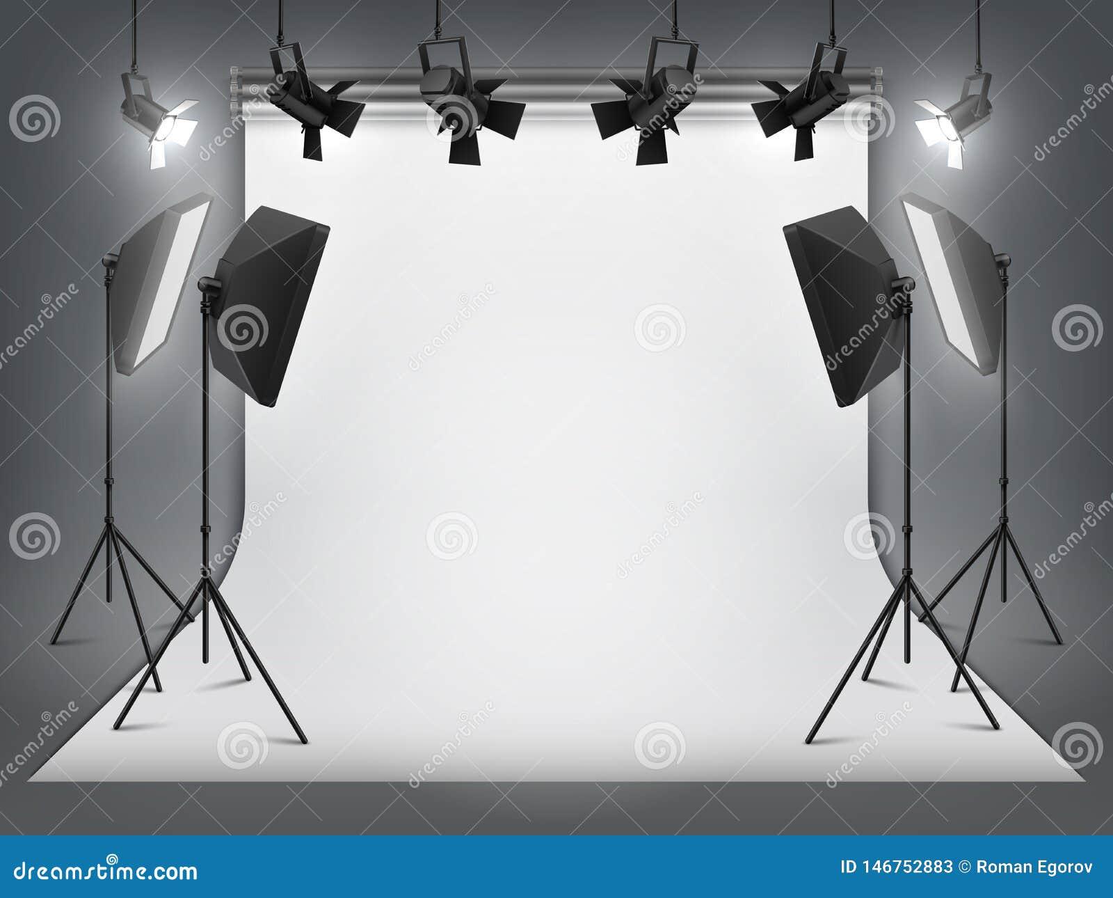 Студия фотографии Фон и фара фото, реалистический прожектор с треногой и оборудование студии Студия вектора