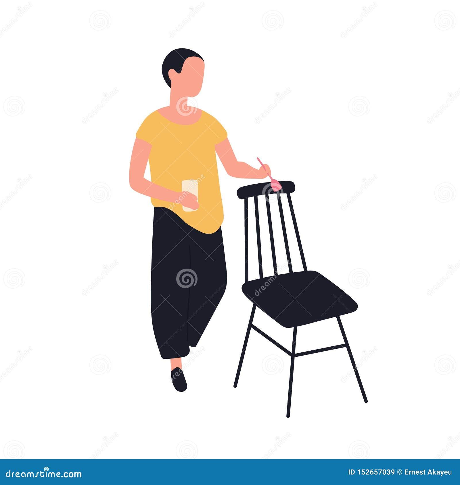 Стул милой прелестной картины женщины деревянный Женский работник ремесленничества мебели наслаждаясь ее хобби Молодое смешное тв