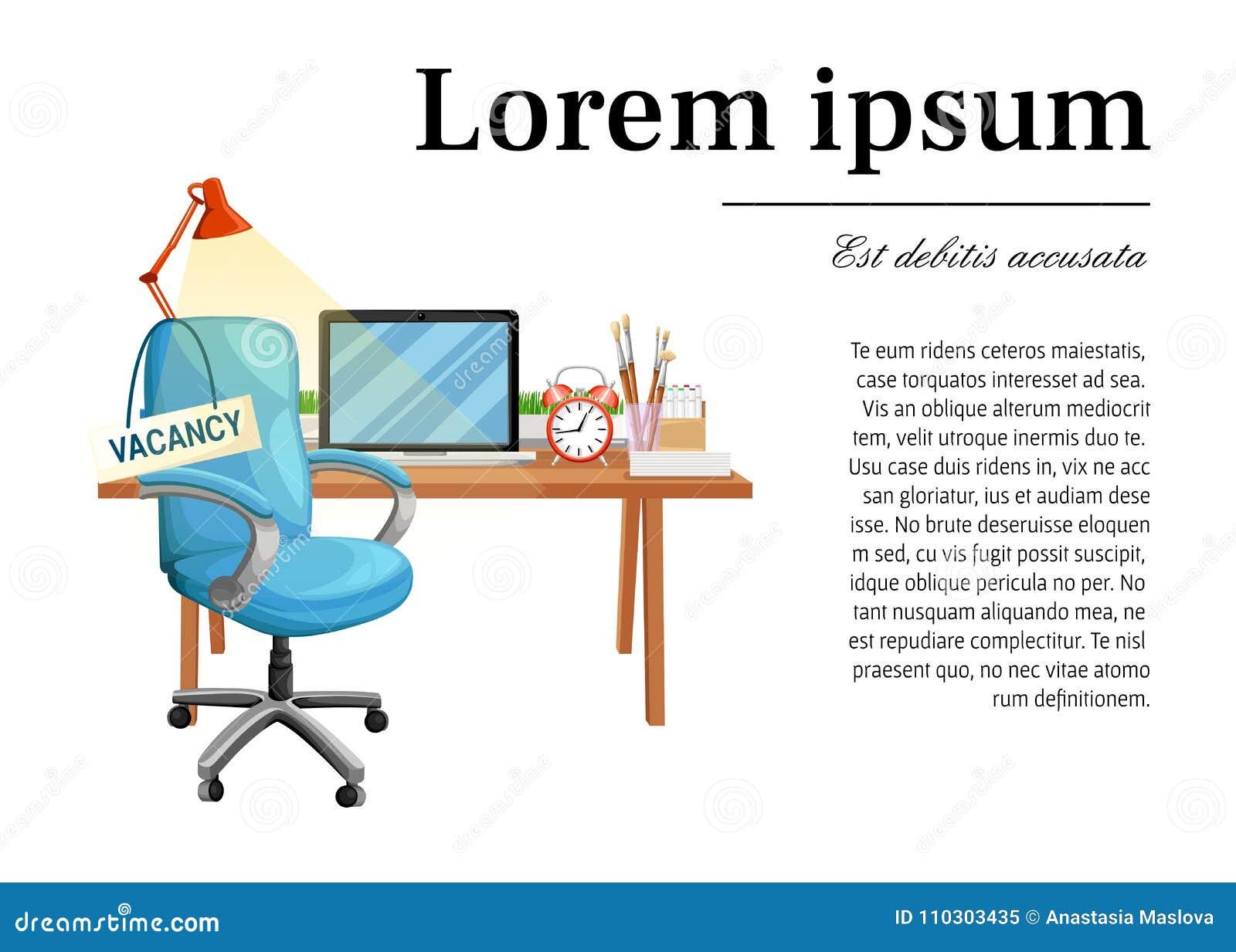 Стул офиса с рабочим местом свободного места знака вакансии для рабочего  места дела работника и значка d57e55411a7
