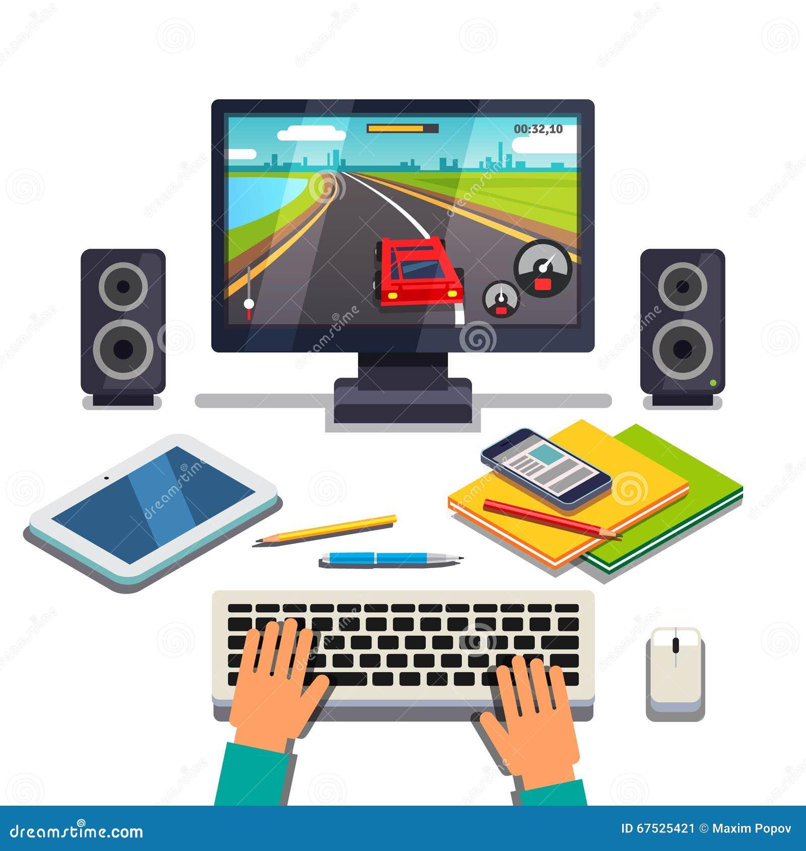 Студент игра на ПК настольного компьютера