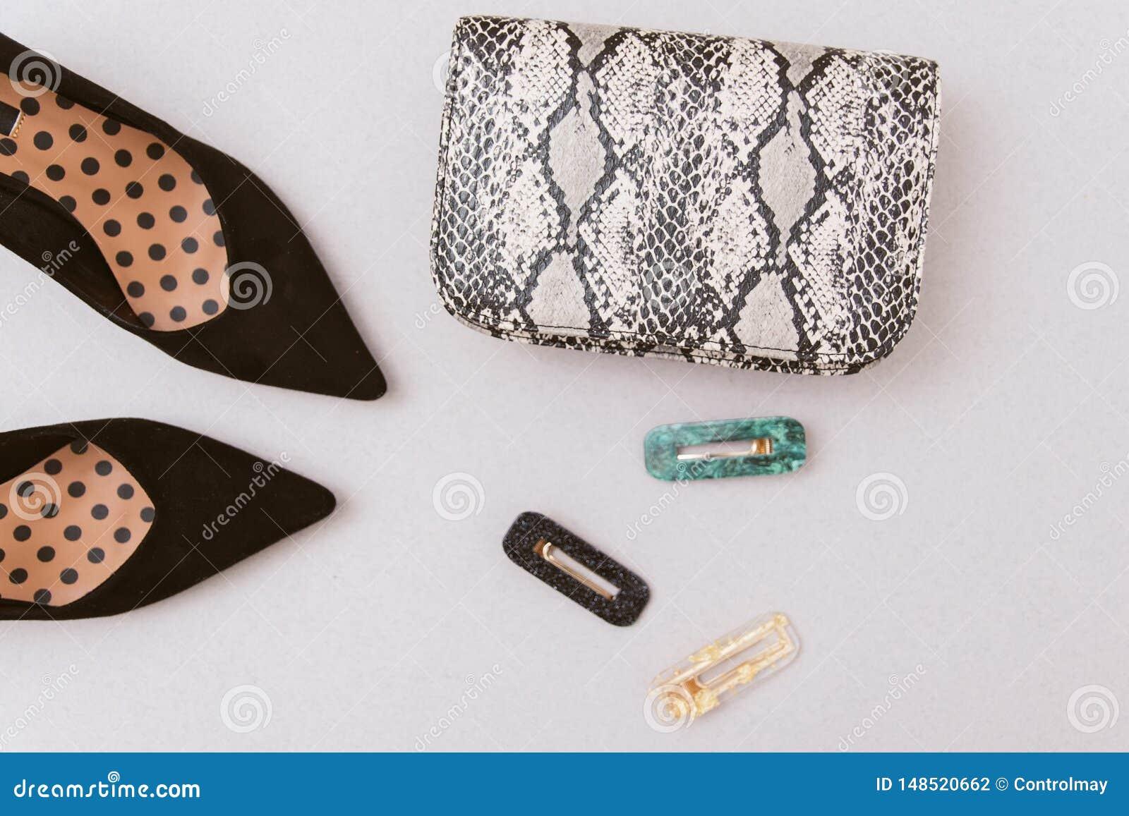сумка snakeskin, hairpins и черных ботинок на пастельной бежевой предпосылке