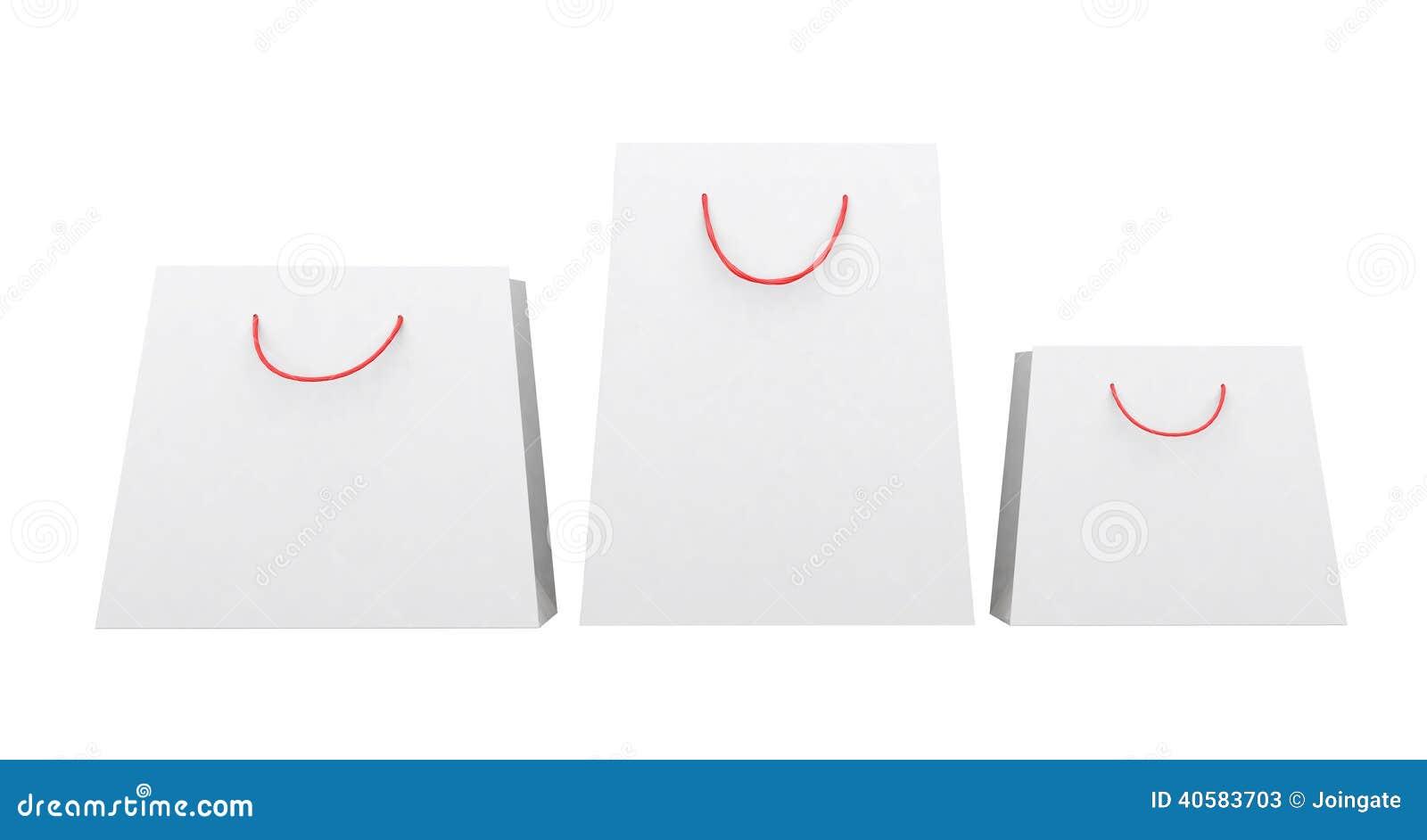 Сумки белой бумаги различных форм, красные ручки строки