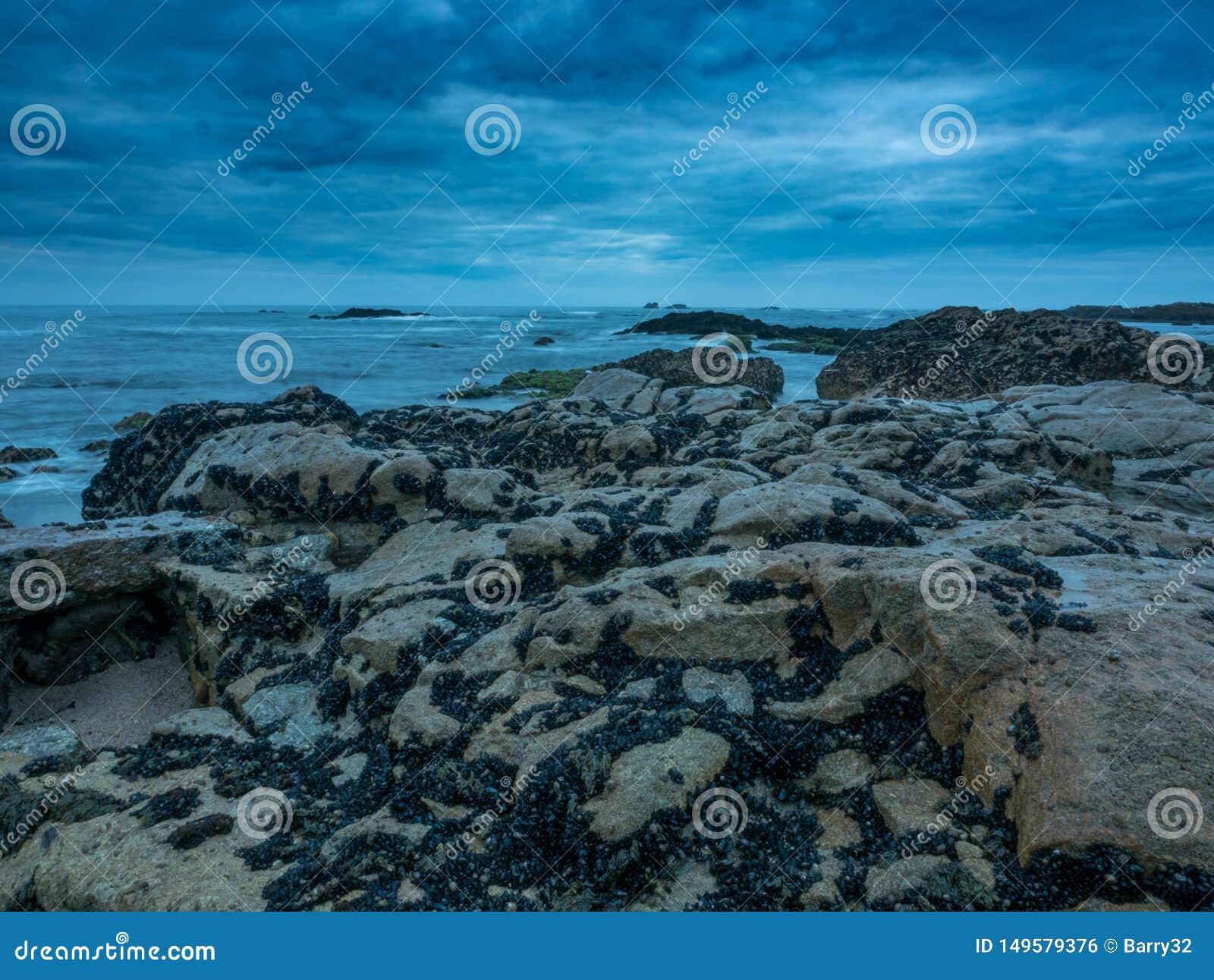 Сумрак на скалистом пляже с драматическими облаками и темным унылым небом o