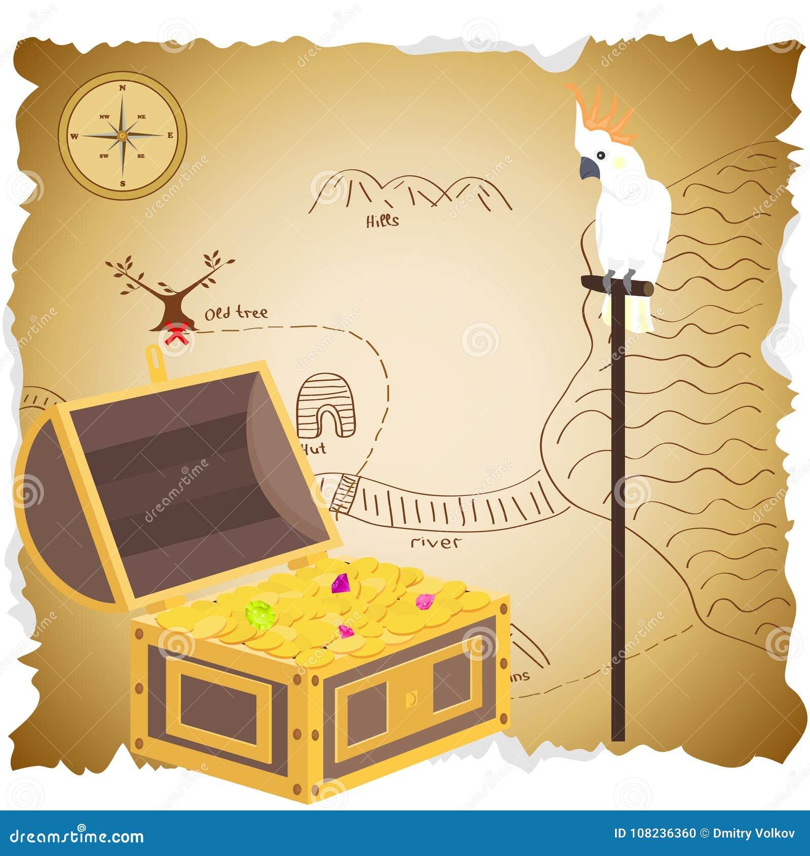 Сундук с сокровищами с картой латунный комод чеканит сокровище черепа пирата карты польностью золотистого ножа компаса лежа старо