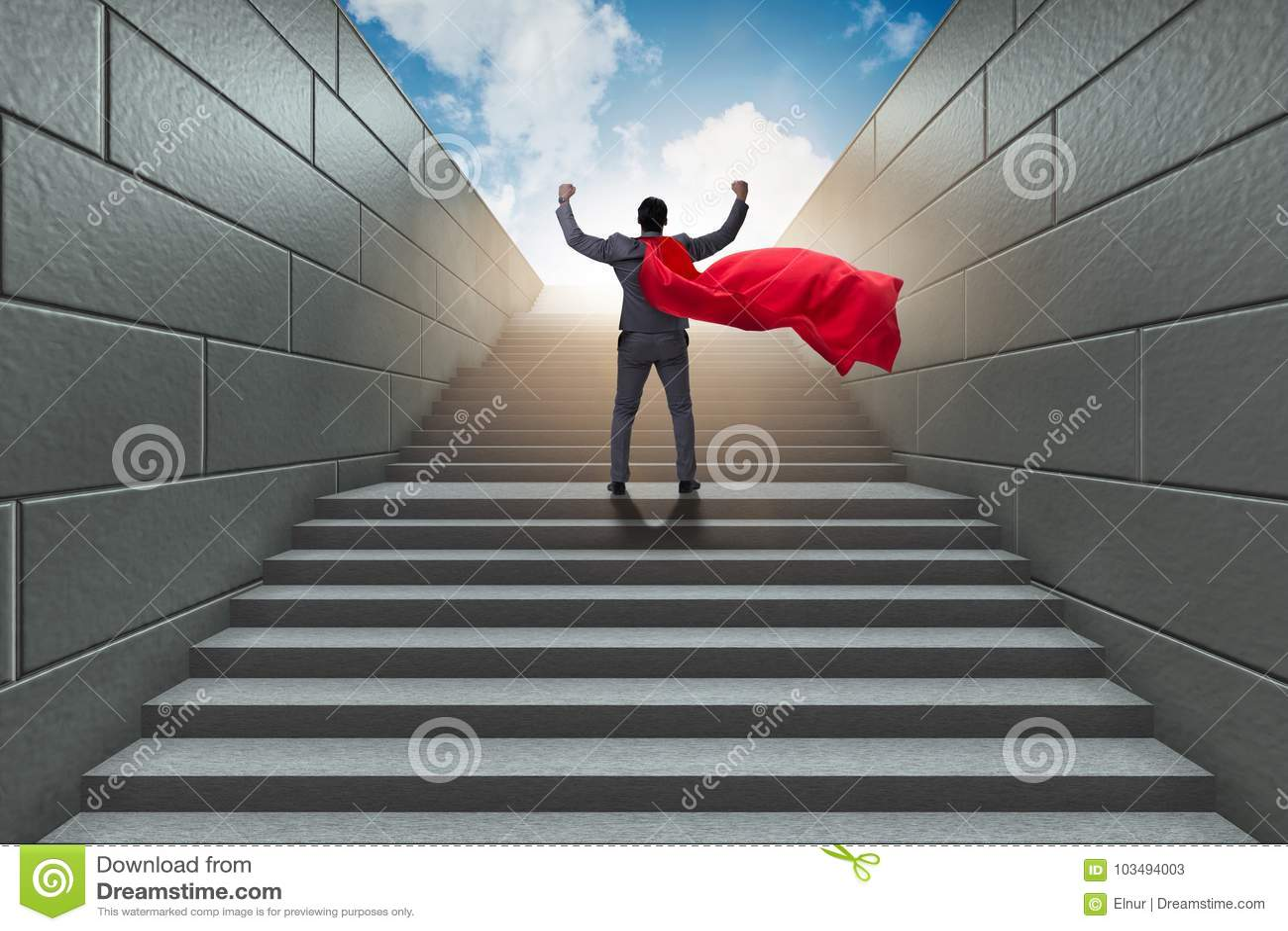 Супергерой бизнесмена успешный в концепции лестницы карьеры