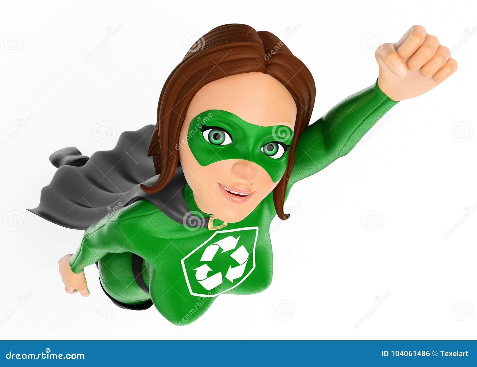 супергерой женщины 3D рециркулировать летание