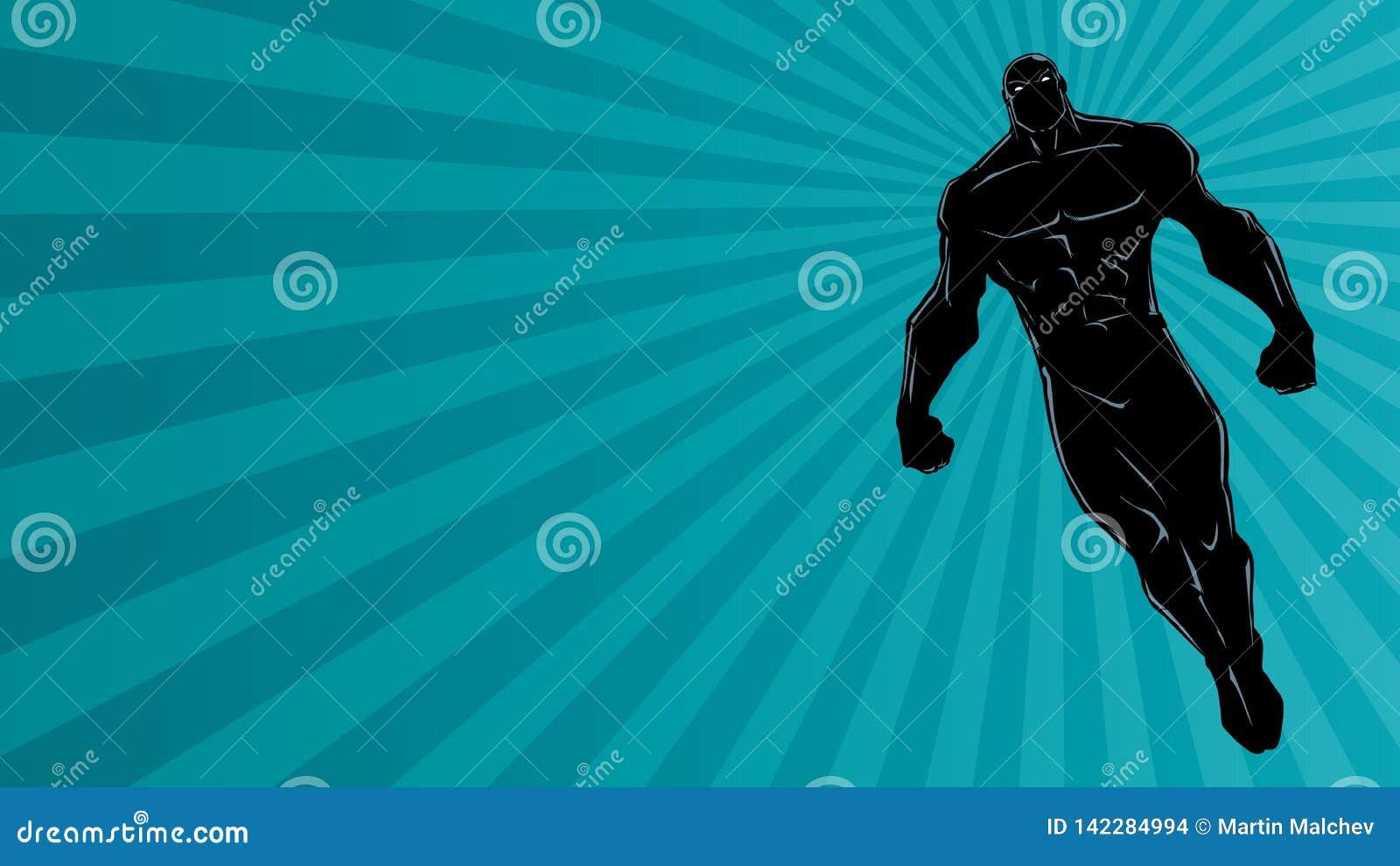 Супергерой летая силуэт предпосылки света Рэй