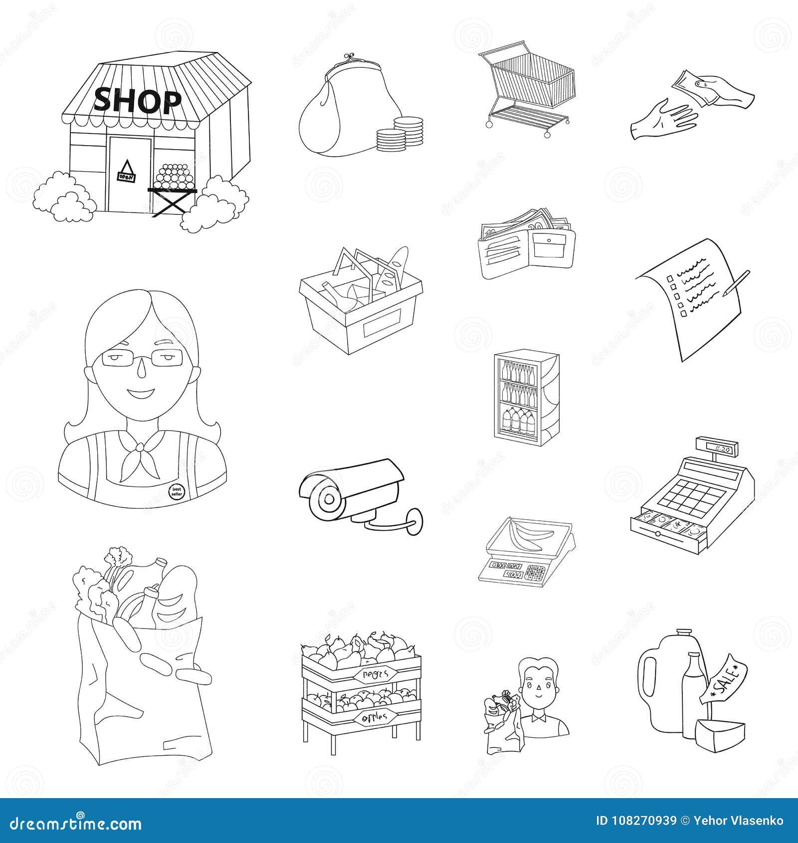 Супермаркет и оборудование конспектируют значки в собрании комплекта для дизайна Приобретение сети запаса символа вектора продукт
