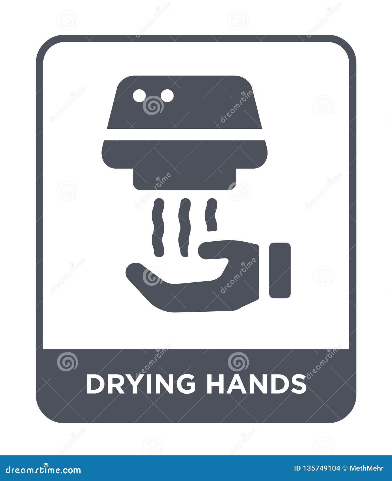 сушить значок рук в ультрамодном стиле дизайна сушащ значок рук изолированный на белой предпосылке сушащ значок вектора рук прост