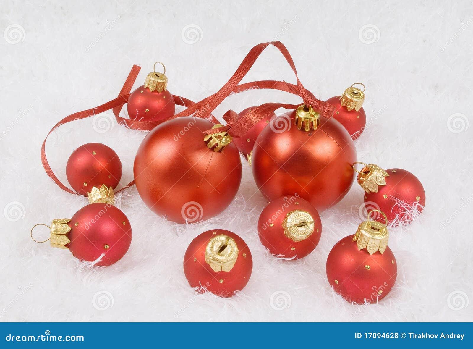 сферы красного цвета рождества