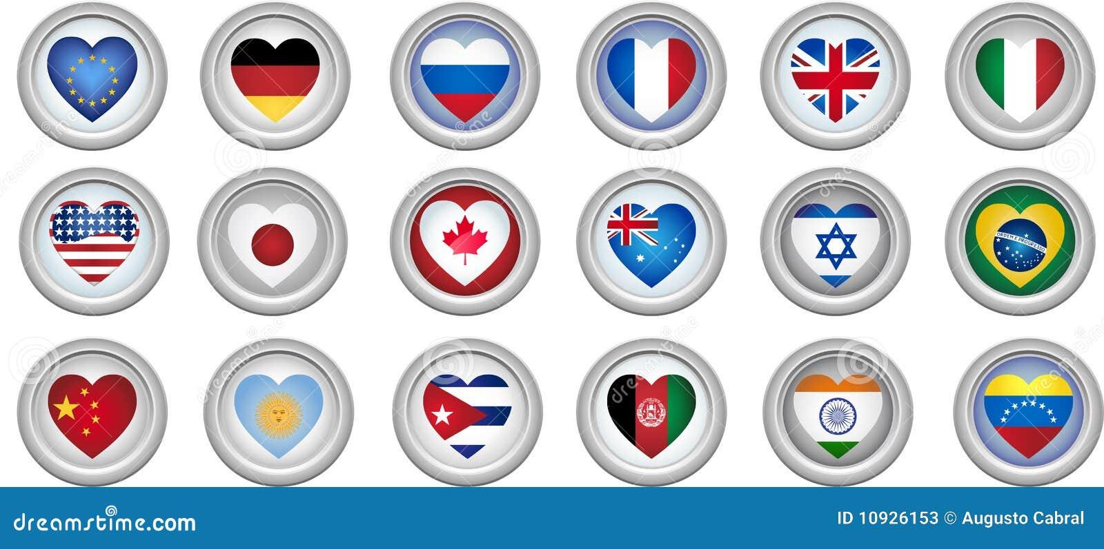 сформированное сердце флагов кнопок