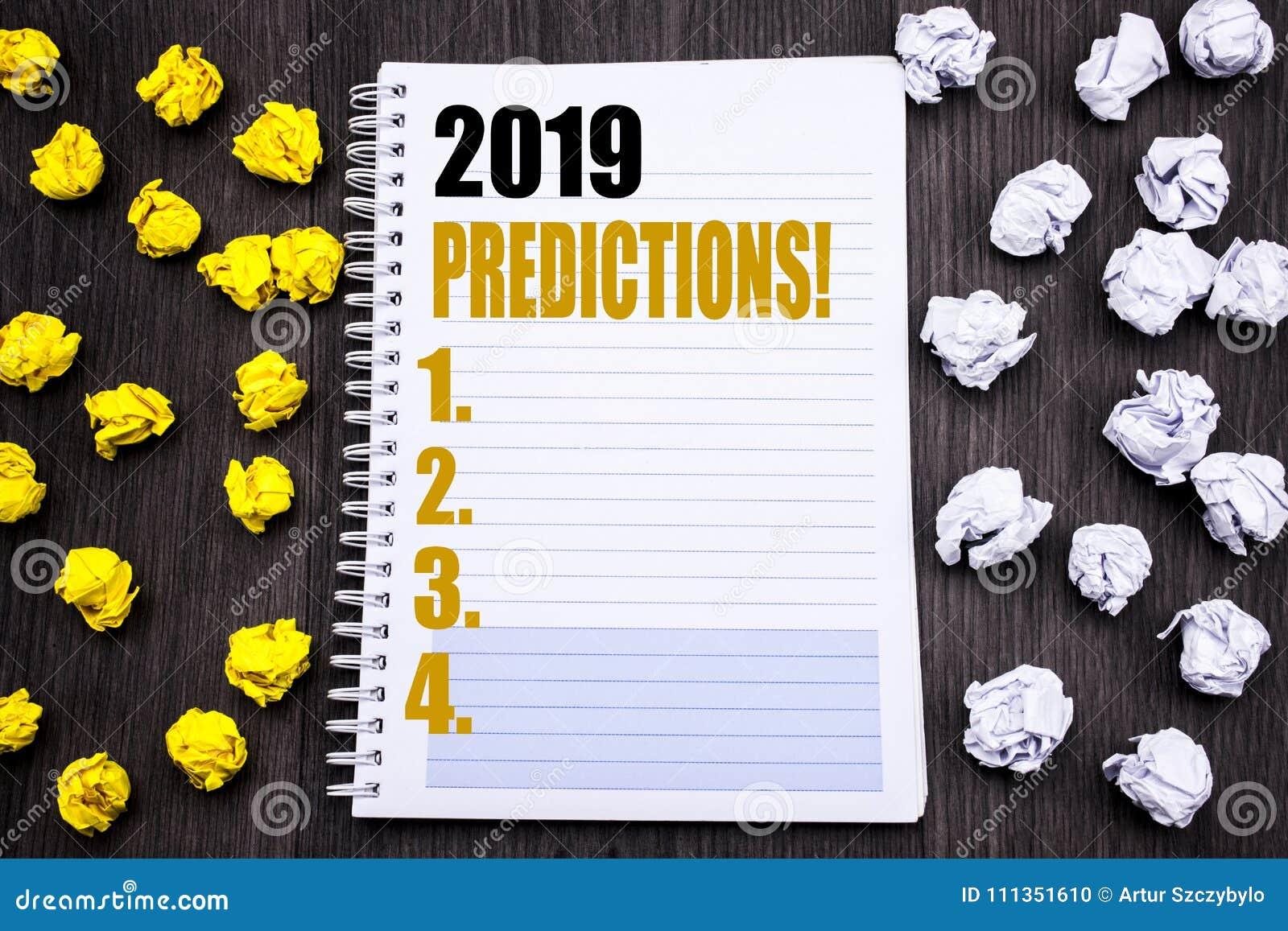 Схематический титр текста сочинительства руки показывая 2019 прогнозов Концепция дела для прогноза предвестникового написанная на