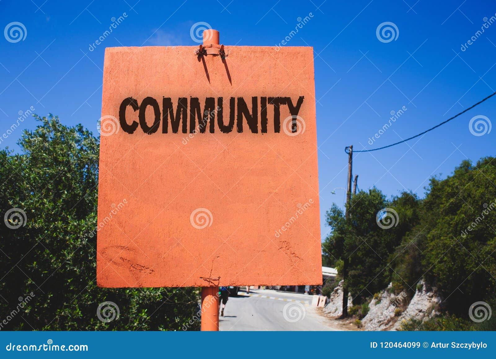 Схематическое сочинительство руки показывая общину Группа единства союзничества присоединения положения ассоциации района текста