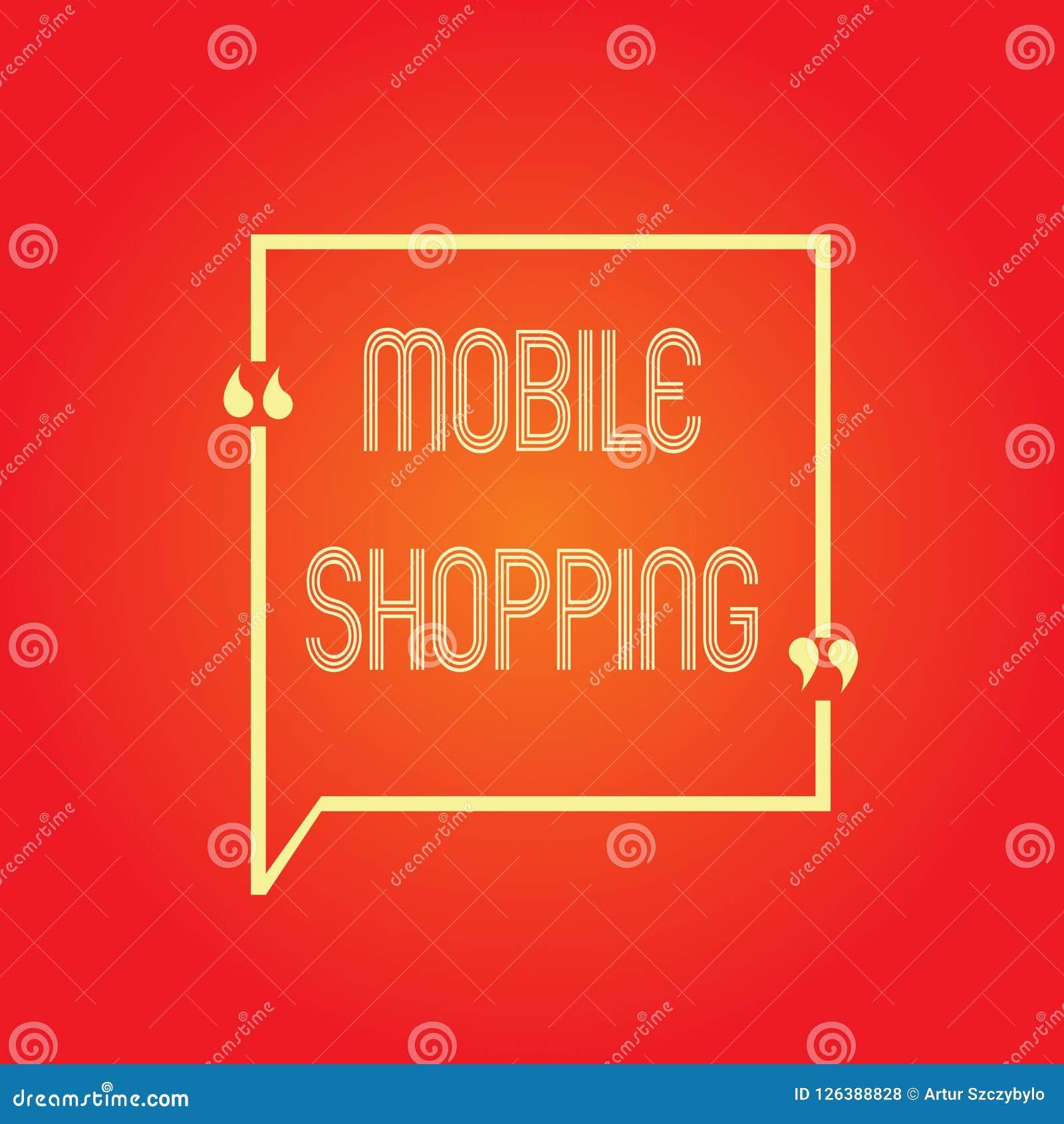 Схематическое сочинительство руки показывая передвижные покупки Приобретение текста фото дела и продавать товары и услуги через ч