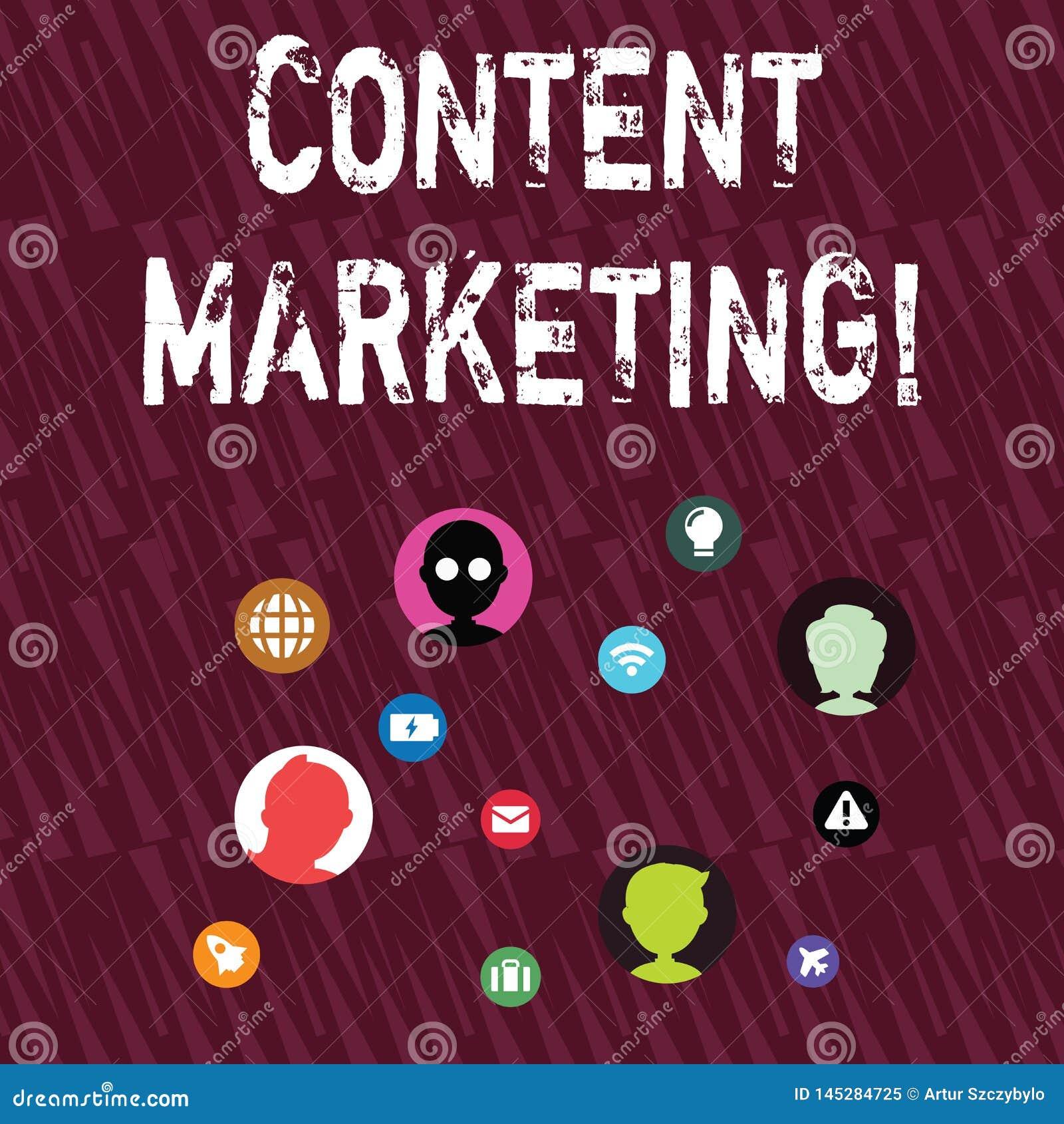 Знак текста показывая маркетинг содержания Схематическое фото включает творение и публикацию онлайн материальной сети