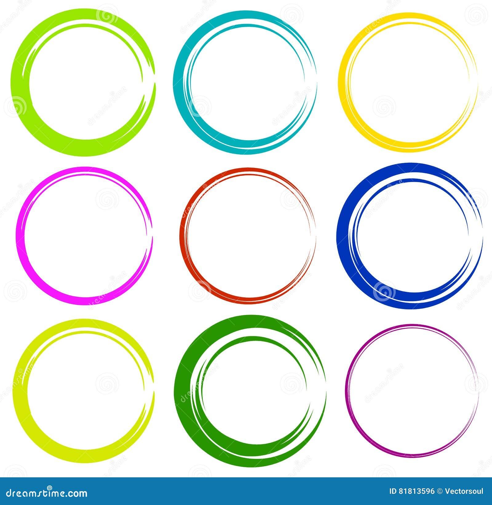 Схематичные круги с нарисованным вручную влиянием Установите 9 grungy кругов