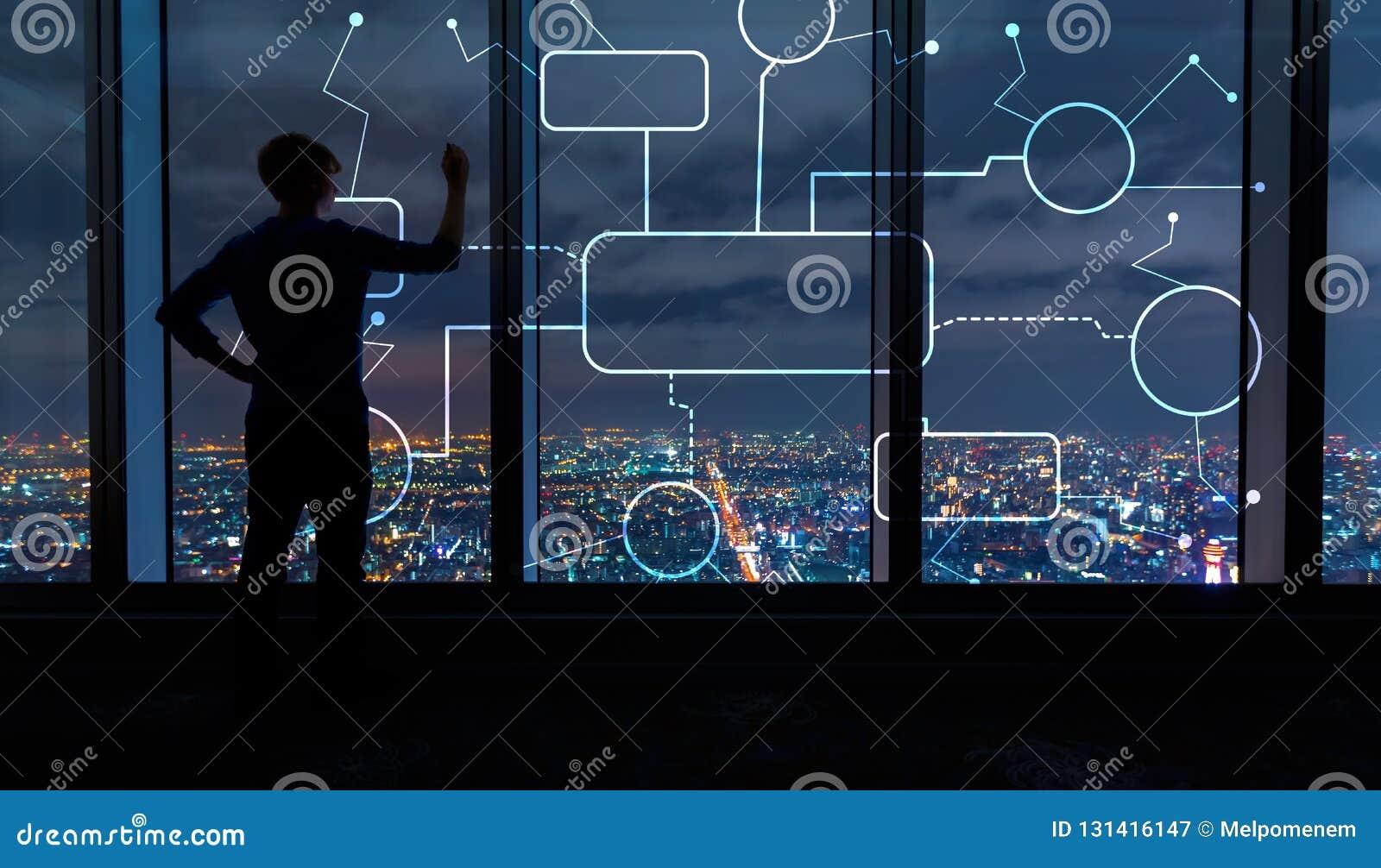 Схема технологического процесса с человеком большими окнами вечером