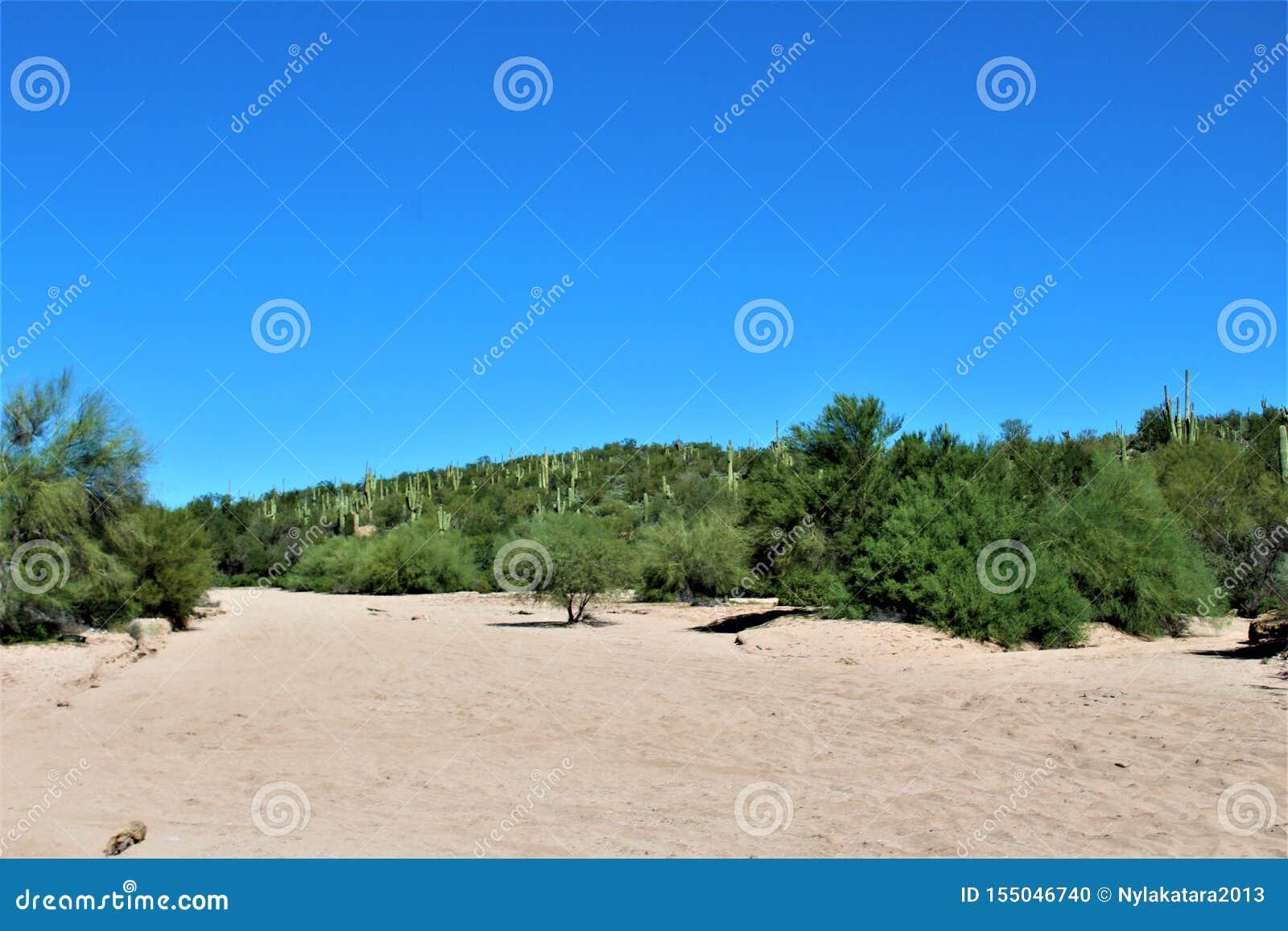 Сценарный взгляд ландшафта от мезы, Аризоны к холмам фонтана, Maricopa County, Аризоны, Соединенных Штатов