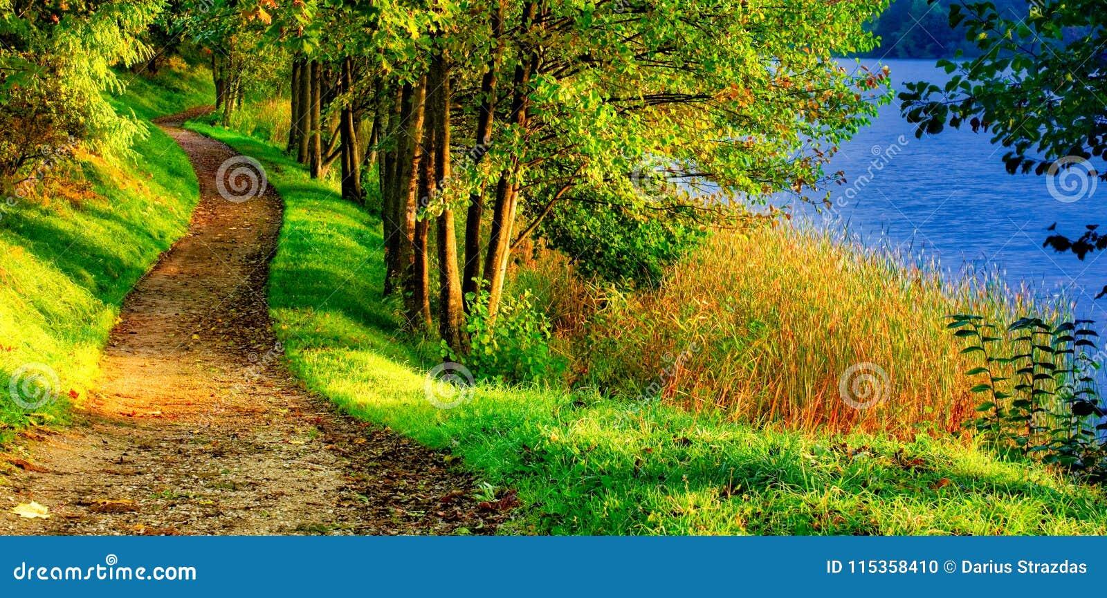 Сценарный ландшафт природы пути около озера