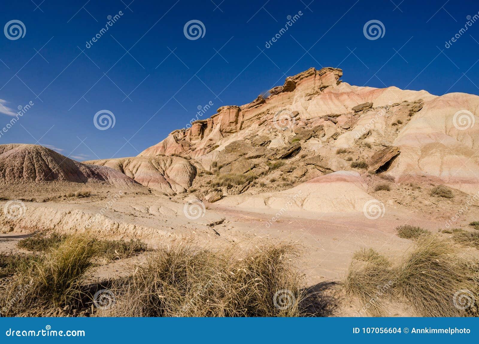 Сценарный ландшафт Bardenas Reales в зоне Наварры Испании