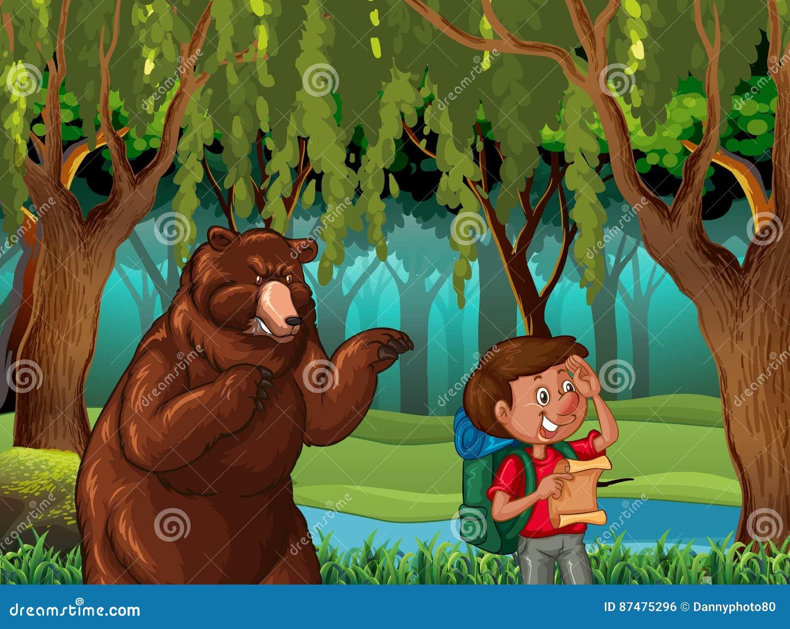 Сцена леса с hiker и медведем