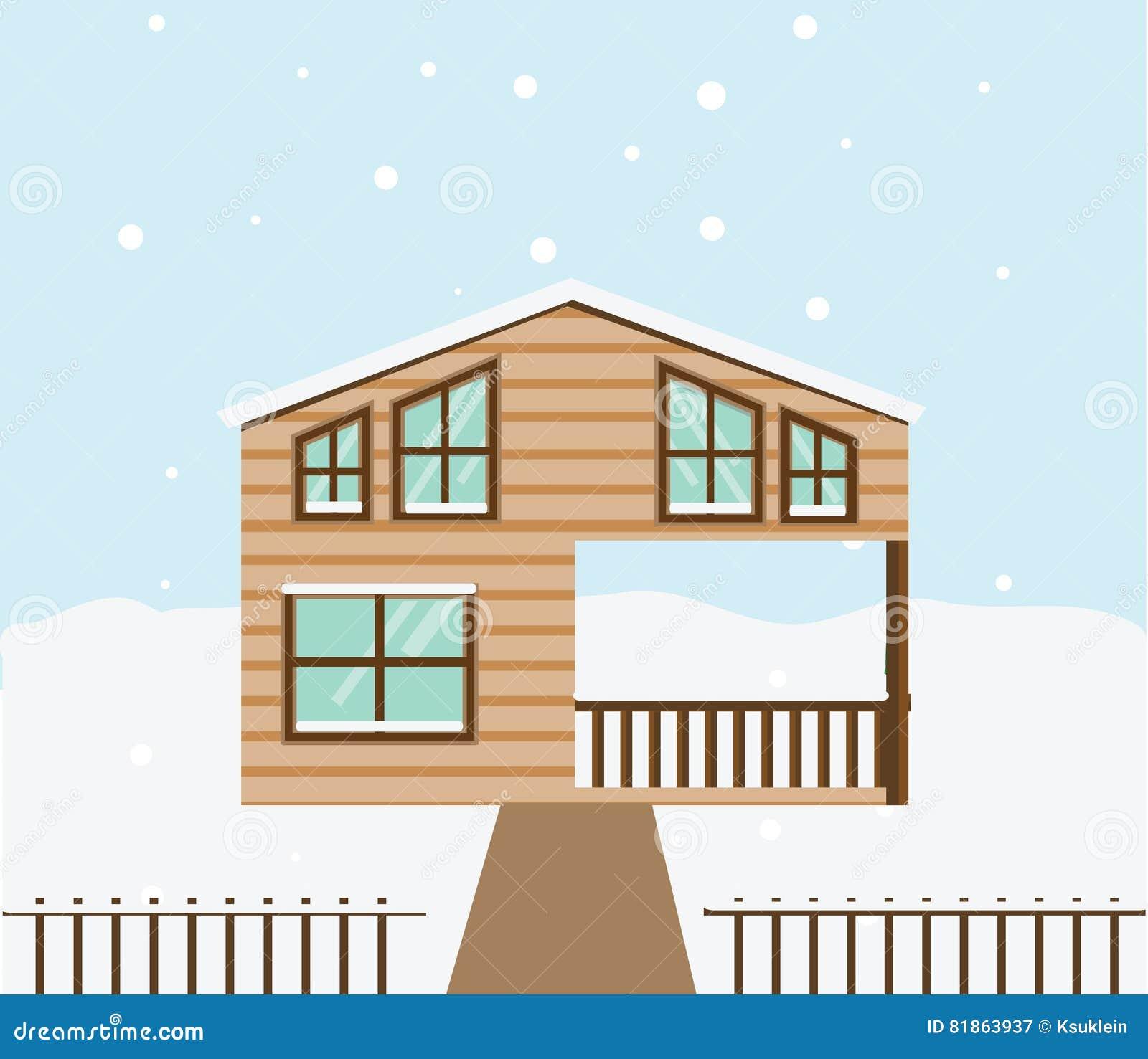 Сцена зимы недвижимости Дом, коттедж, таунхаус, сладостная домашняя иллюстрация вектора