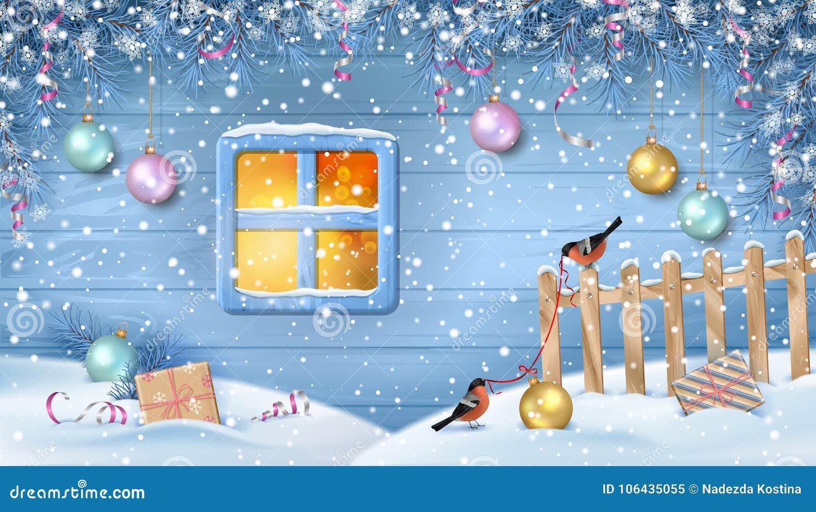 Сцена зимы снежная