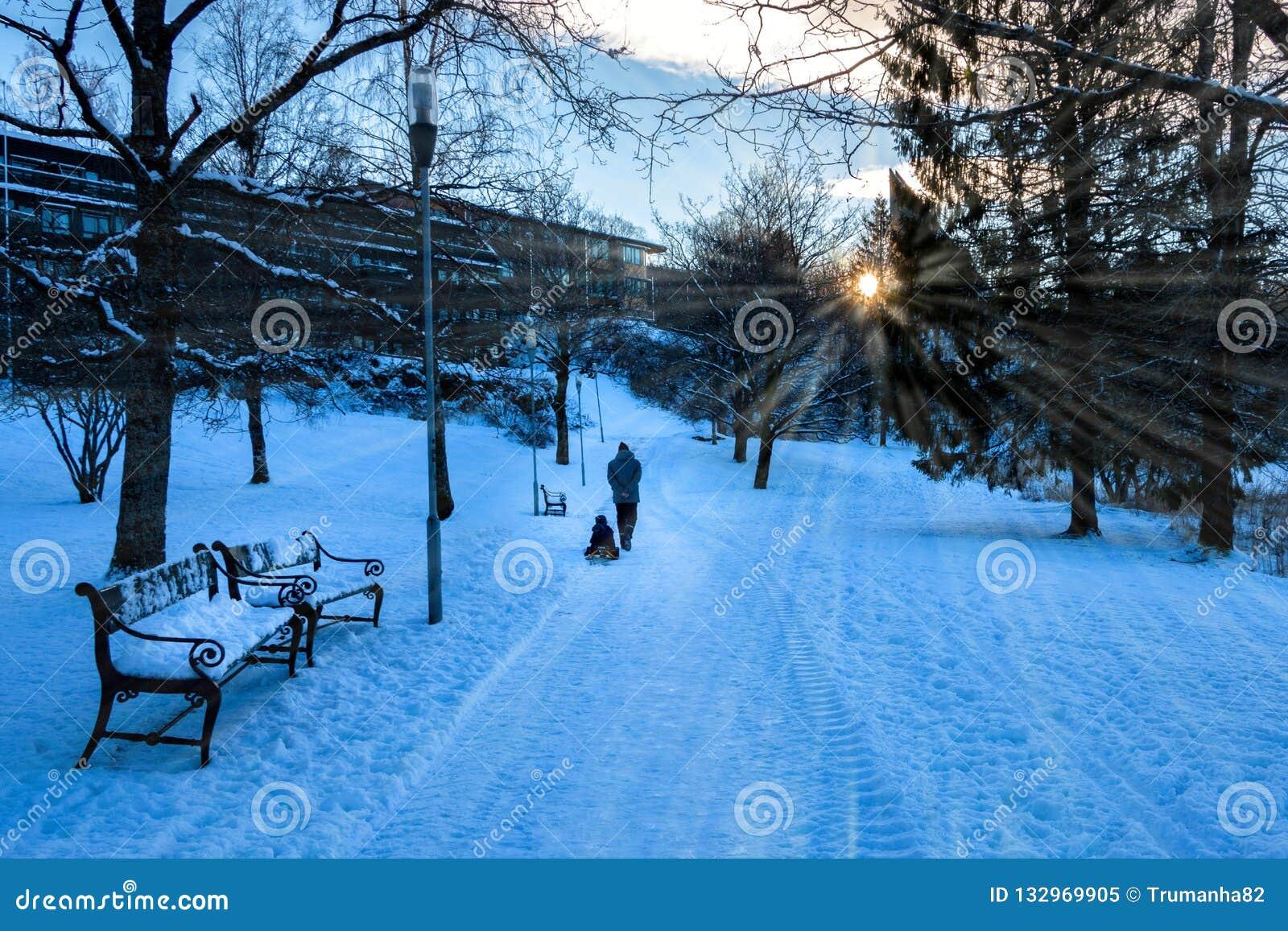 Сцена зимы с отцом ехать скелетон для его ребенк в солнечности утра