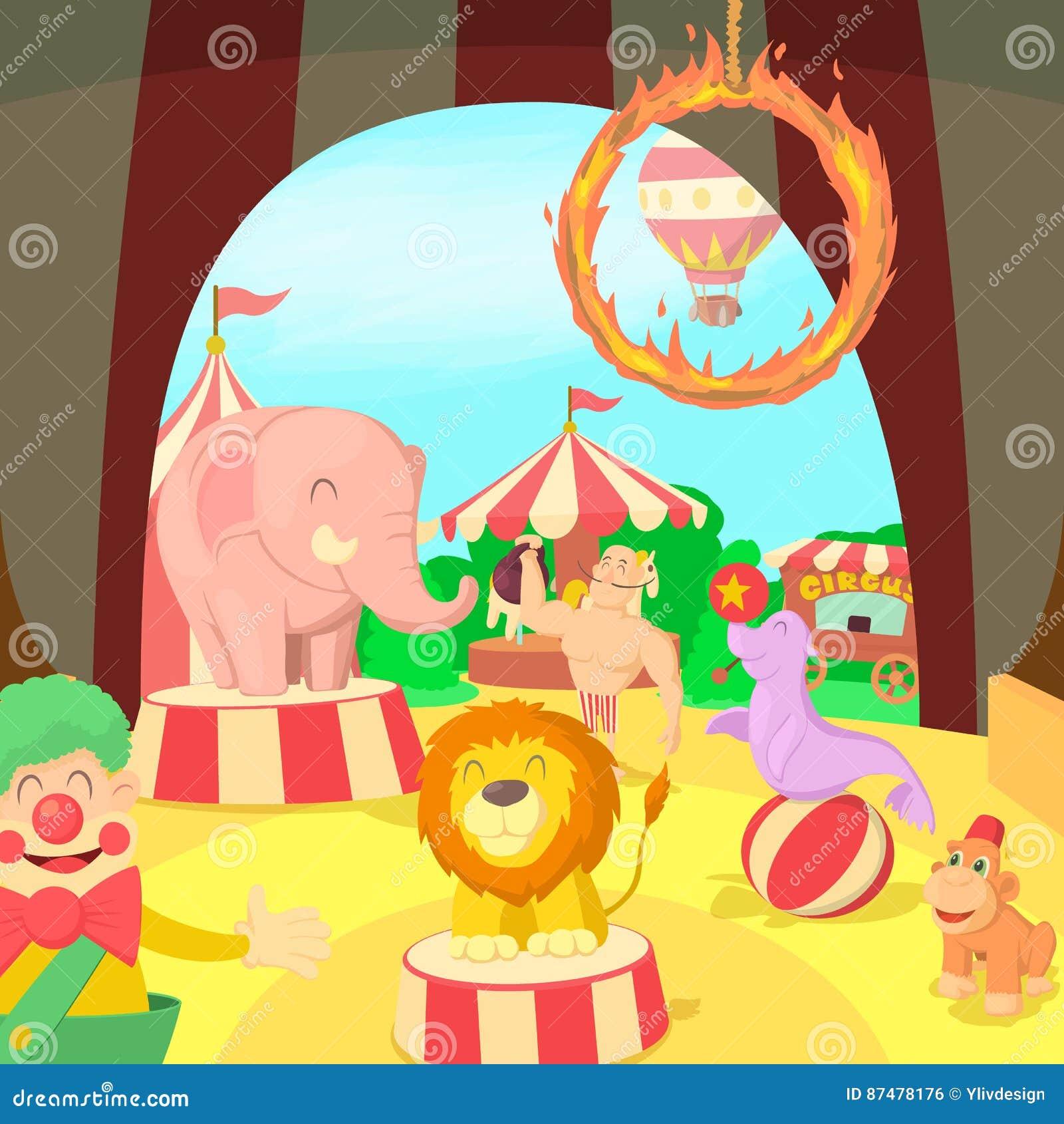 Сцена концепции цирка, стиль шаржа