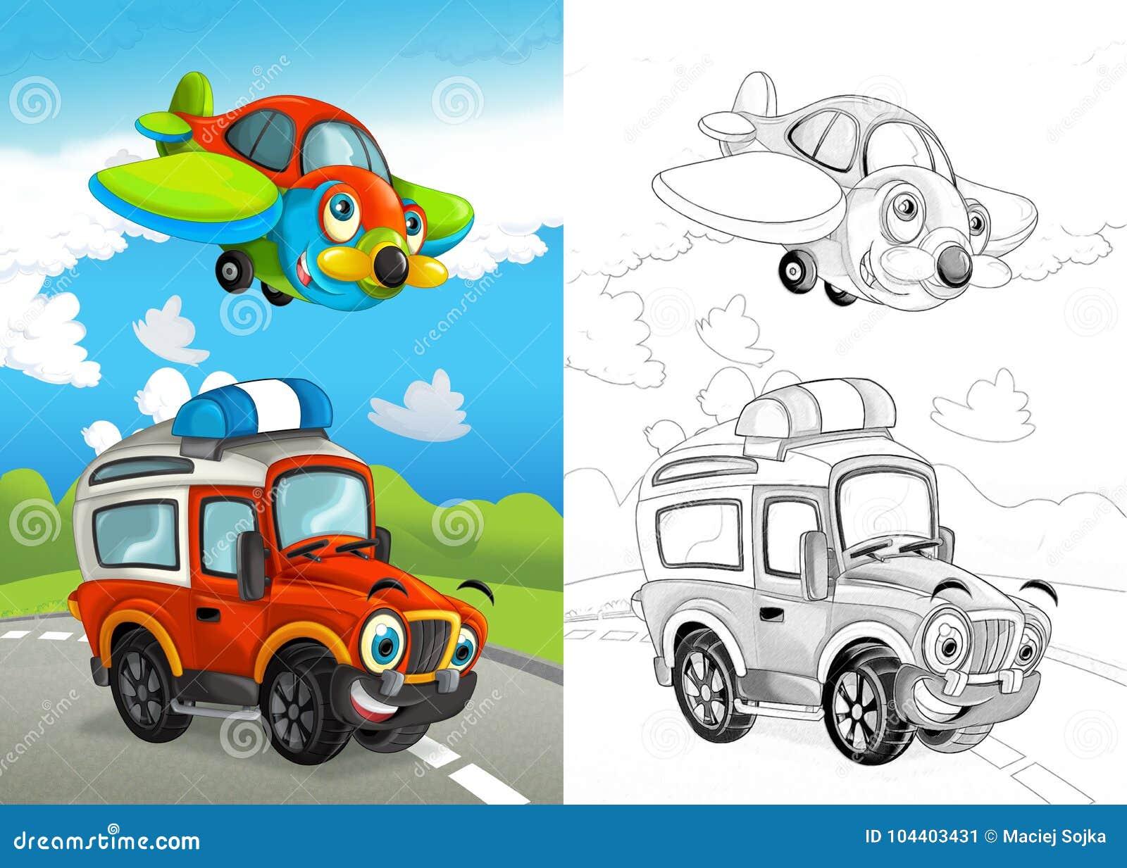 Сцена мультфильма со счастливым с автомобиля дороги на дороге t0he и плоском летании с крася страницей