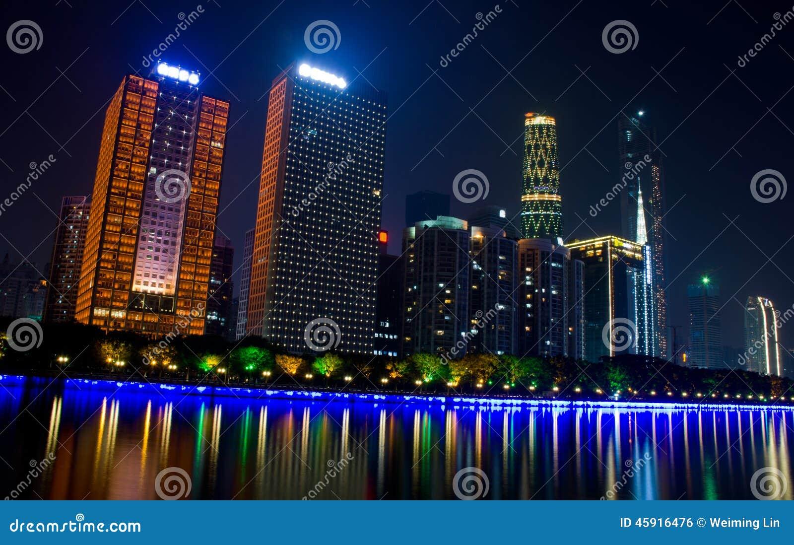 Сцена ночи в Гуанчжоу
