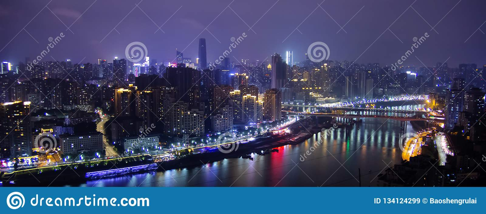 Сцена ночи в Чунцине, Китае