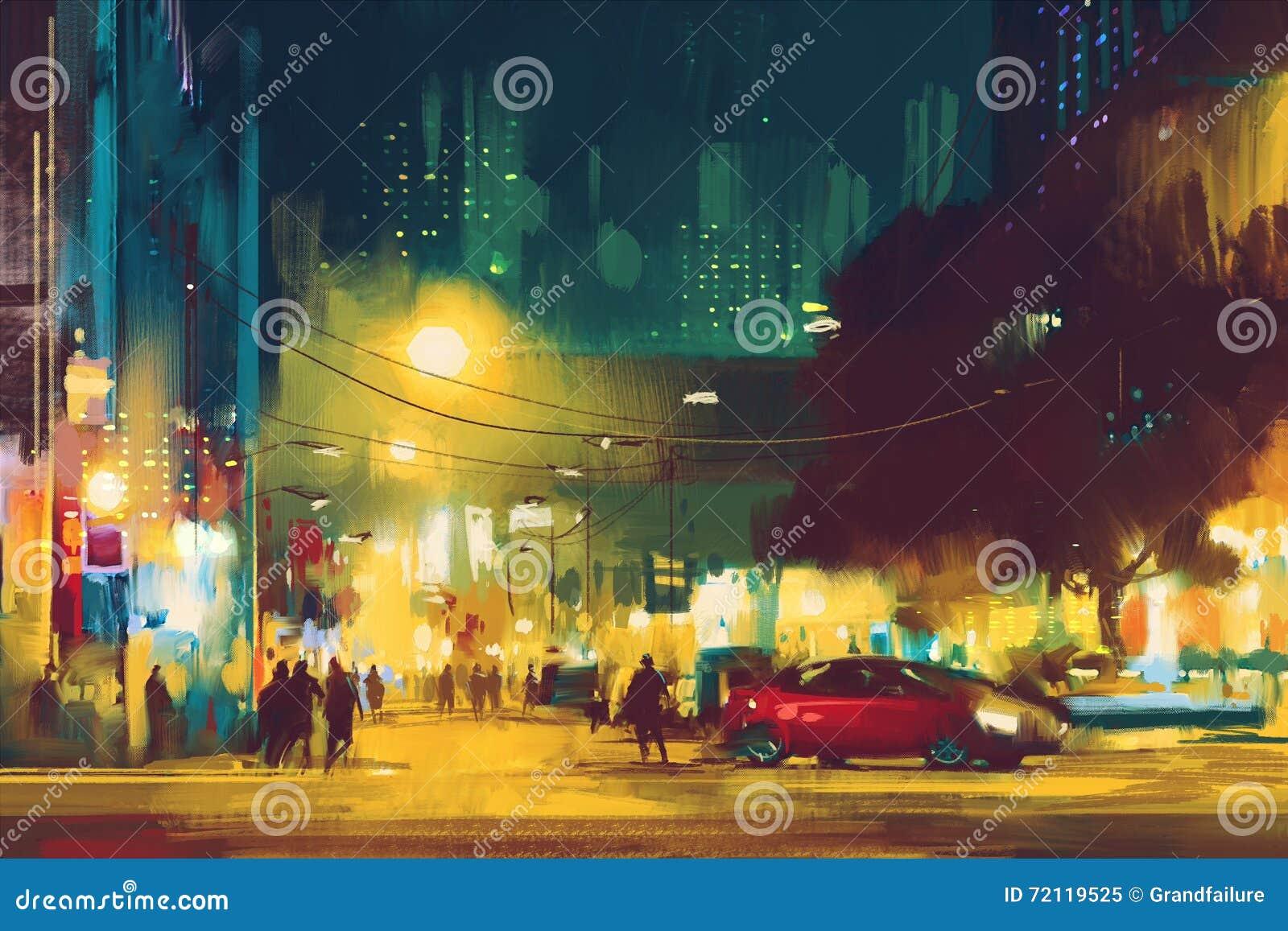 Сцена ночи городского пейзажа с освещением